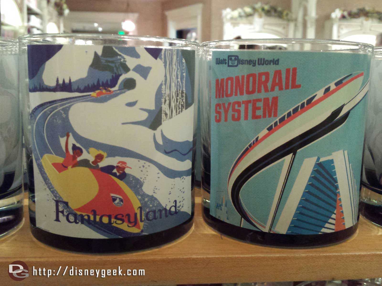 An odd choice, Disneyland Fantasyland and WDW Monorail on the same glass