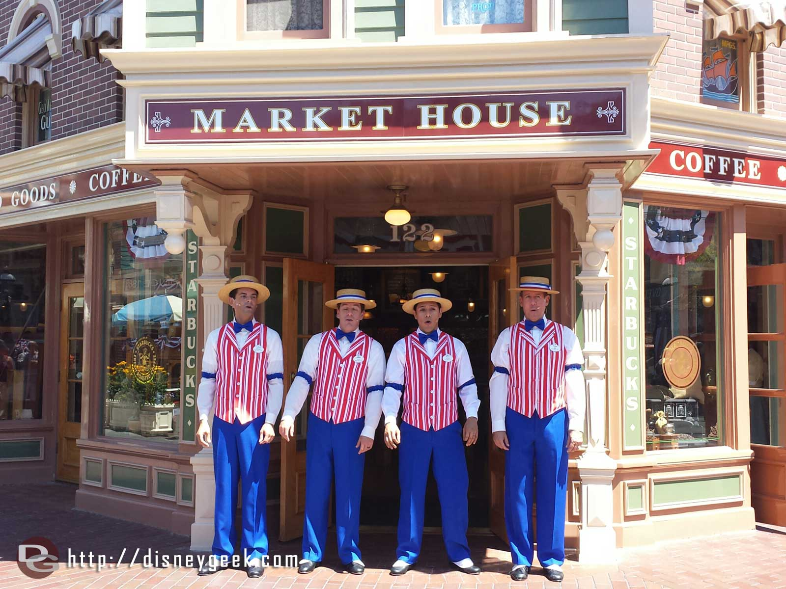 The Dapper Dans of Disneyland sporting their patriotic outfits today.