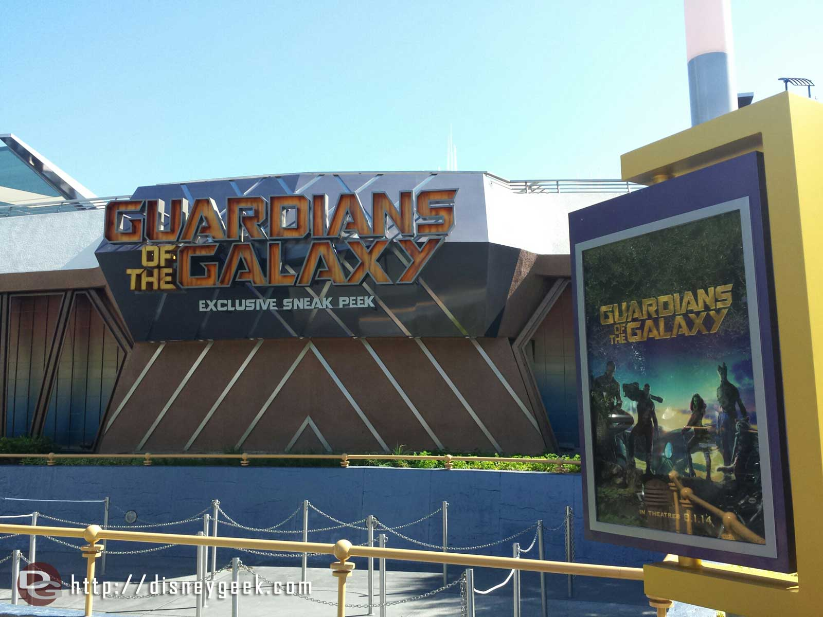 Guardians of the Galaxy signage and posters at the Magic Eye Theater in Tomorrowland