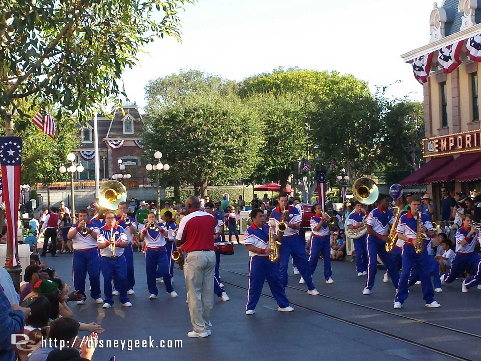 The #Disneyland 2014 All-American College Band performing on Main Street USA