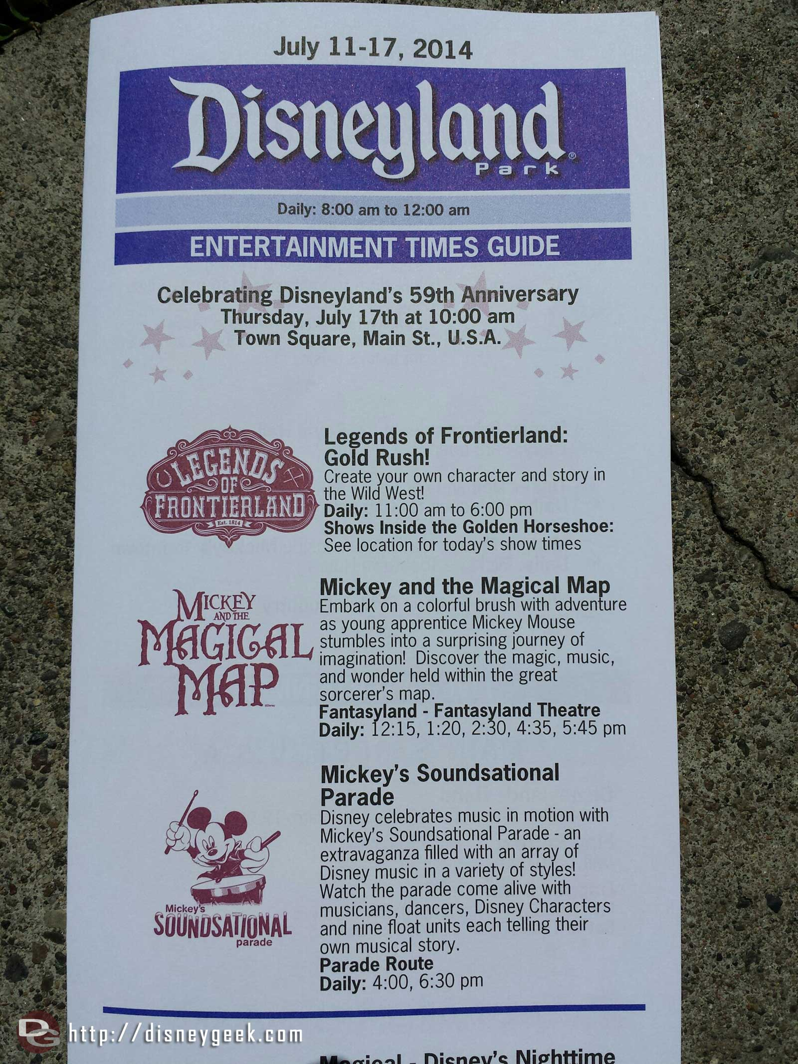#Disneyland time guide, note the 59th celebration next week is at 10am