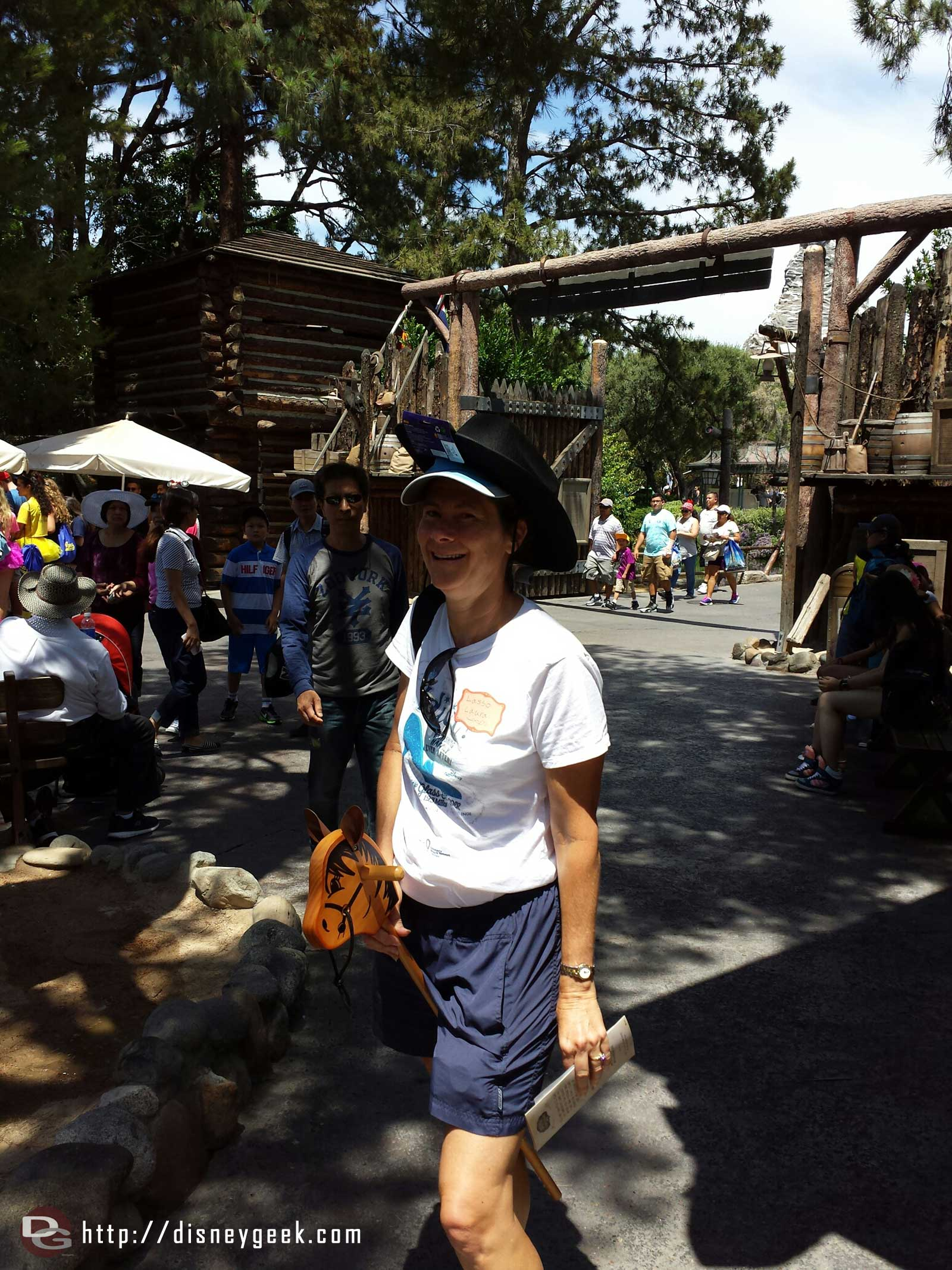 Lasso Laura @AllEarsLaura taking a horse for a ride while playing the Legends of Frontierland
