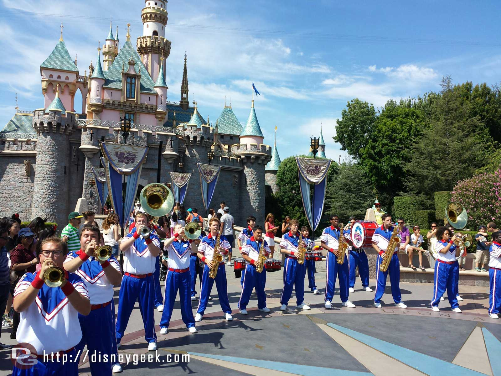 The 2014 #Disneyland All-American College Band performing in front of Sleeping Beauty Castle