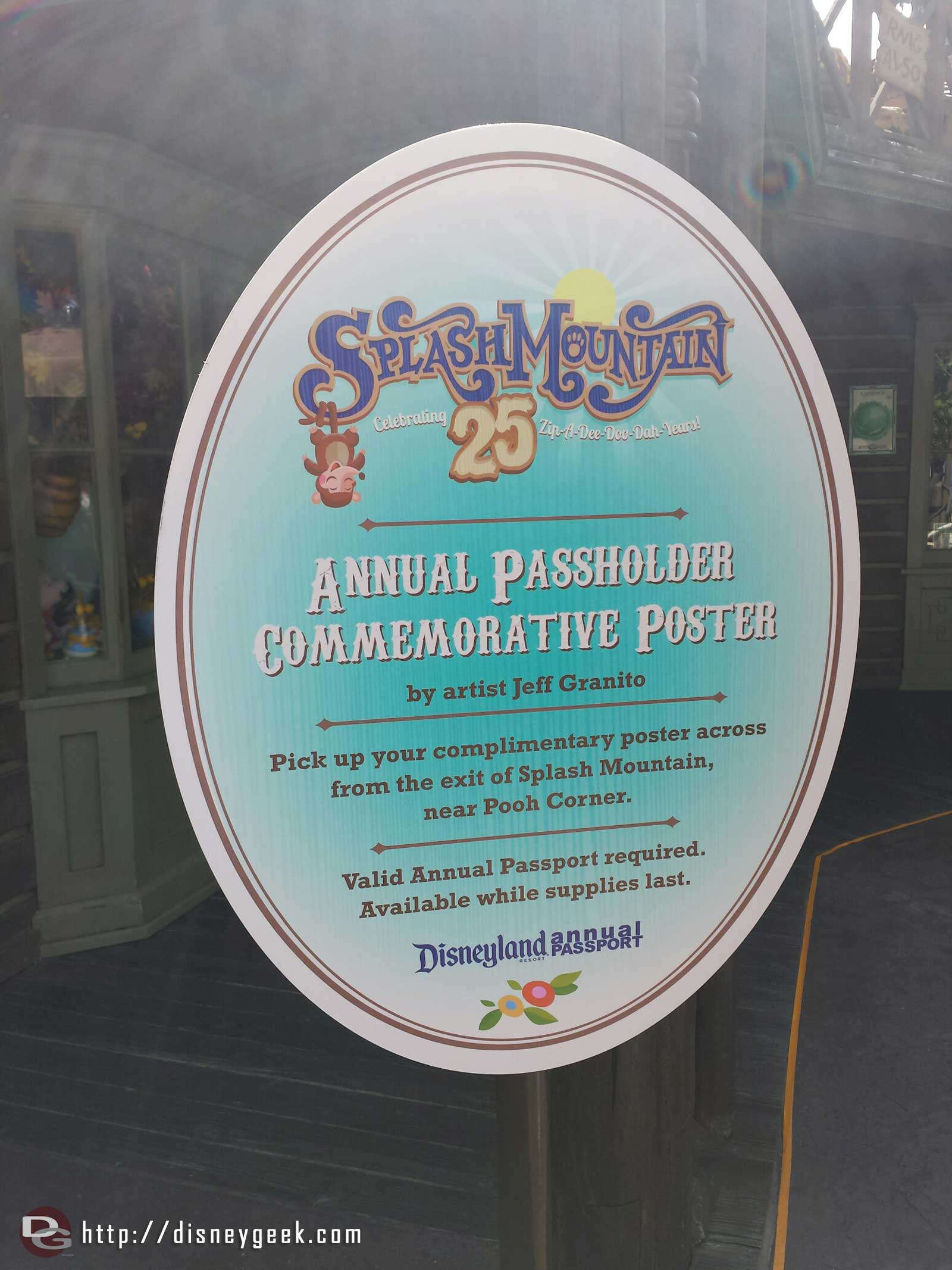 Annual Passholder Commemorative Posters for Splash Mountain's 25th anniversary