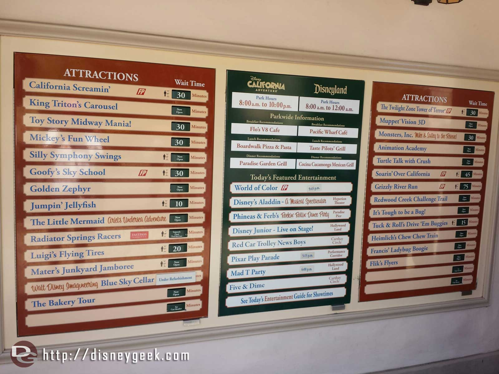 Disney California Adventure waits as of 1:08pm