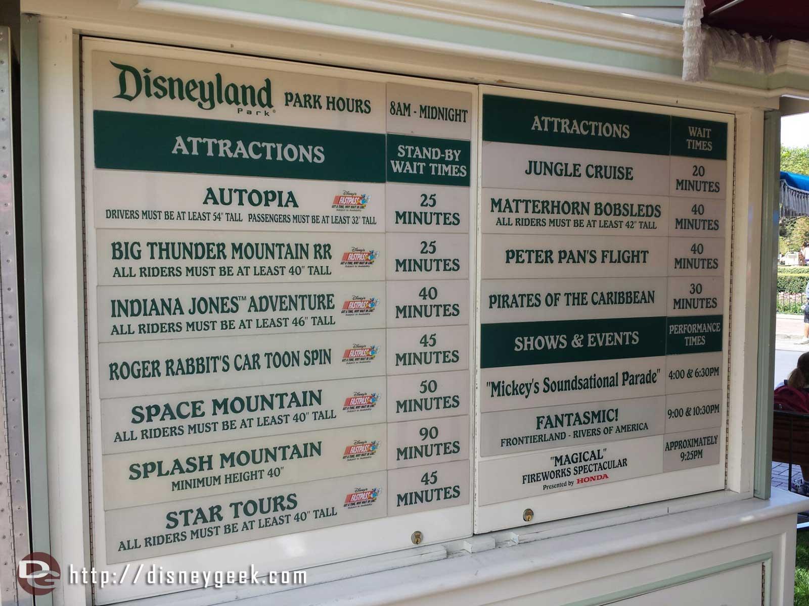 ##Disneyland wait times around 2:15pm