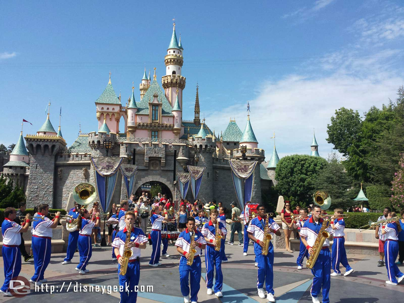 2014 #Disneyland All-American College Band performing in front of Sleeping Beauty Castle