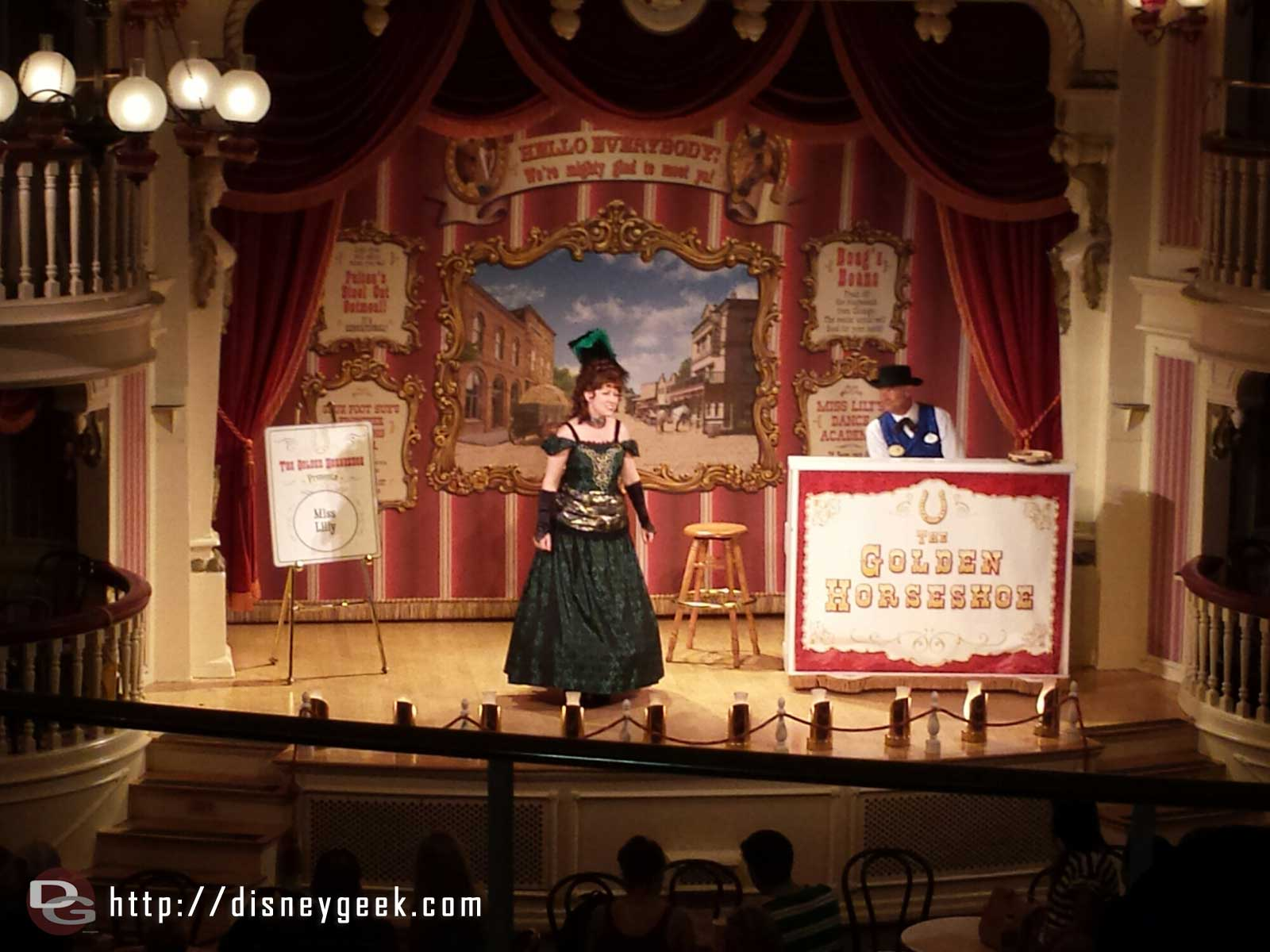Miss Lilly and LB on the Golden Horseshoe stage #Disneyland