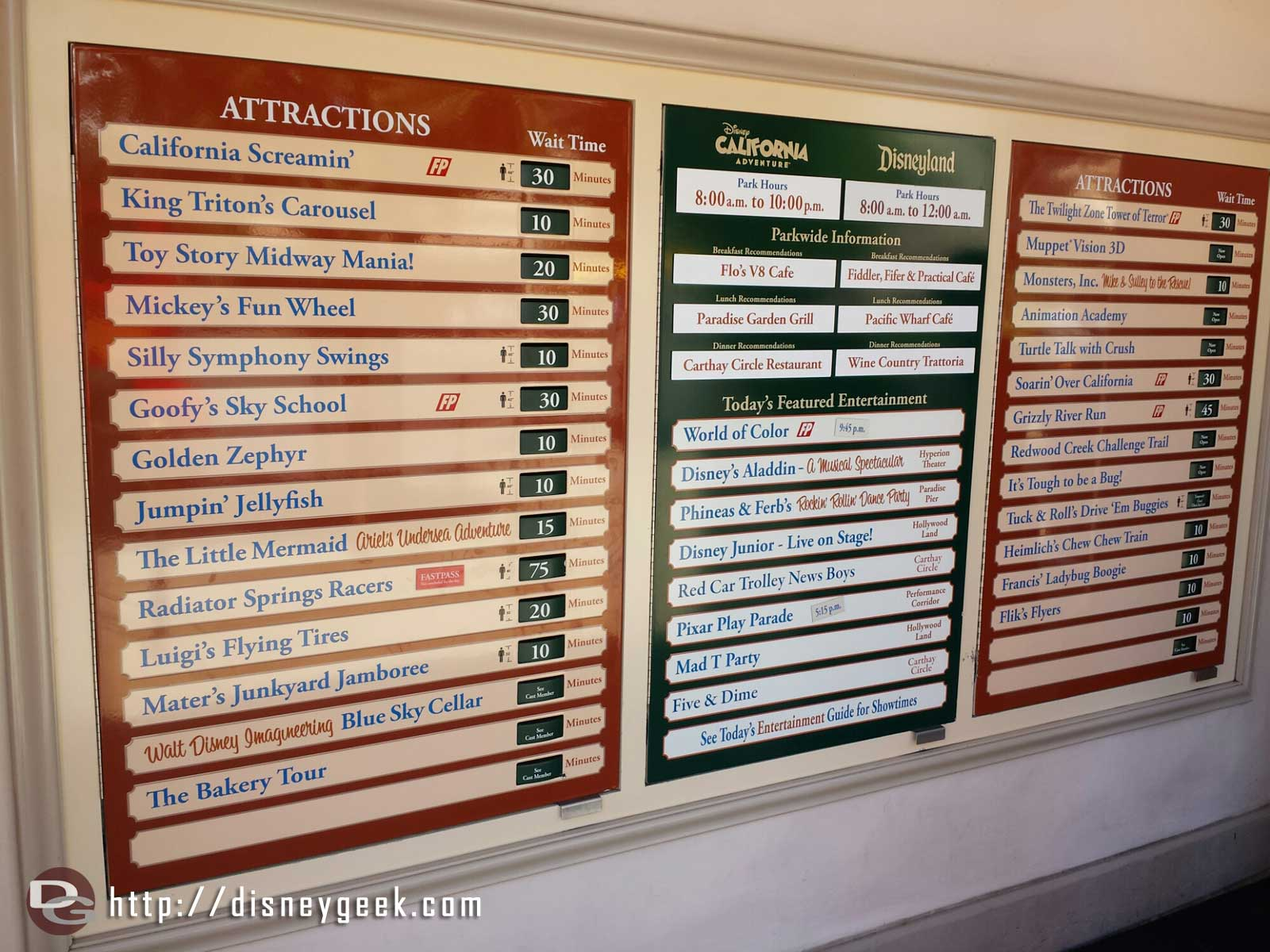 Disney California Adventure waits as of 1:18pm