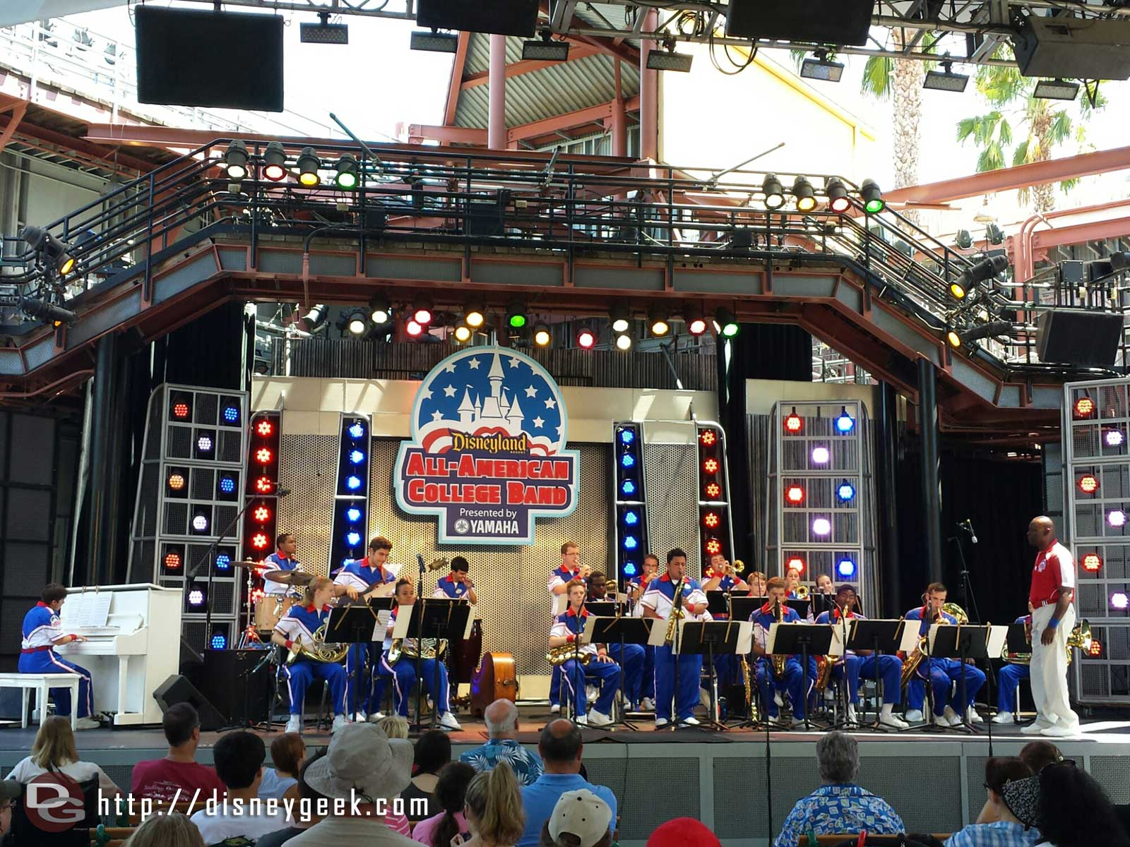 The 2014 #Disneyland All-American College Band performing on the Hollywood Backlot Stage