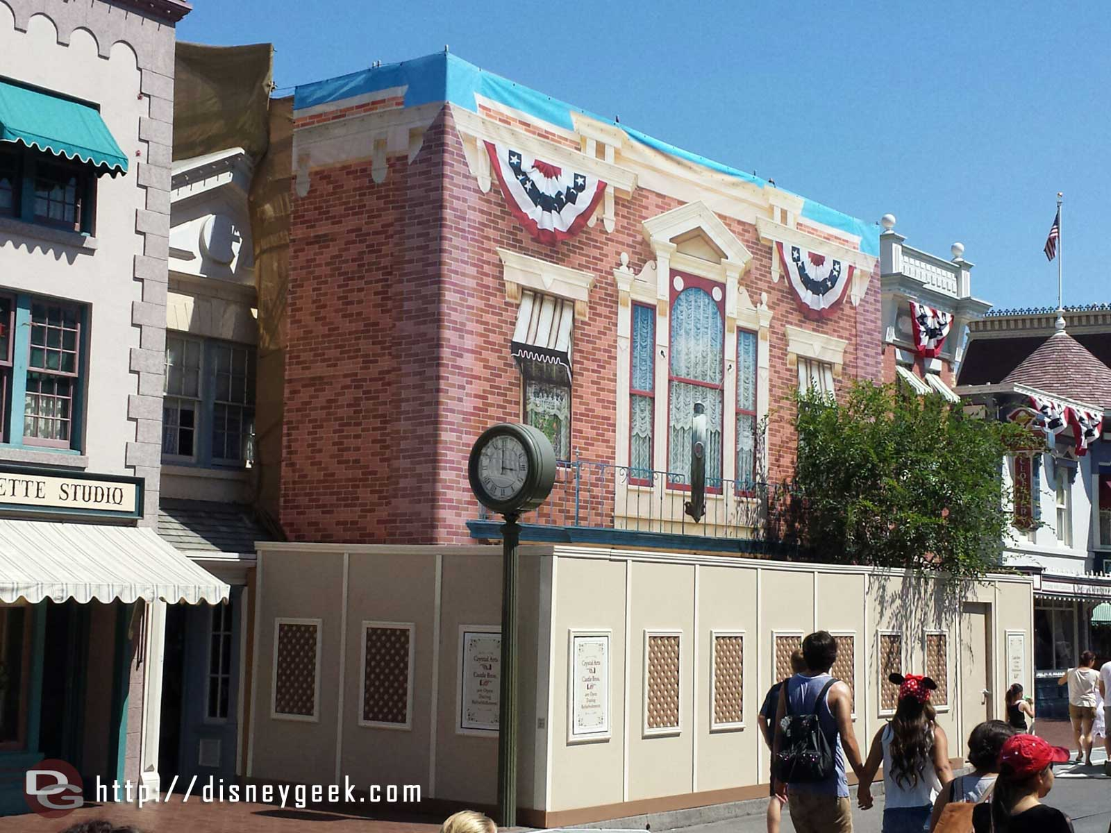 The facade for Castle Bros is underwraps for rennovation.  It is still open #Disneyland