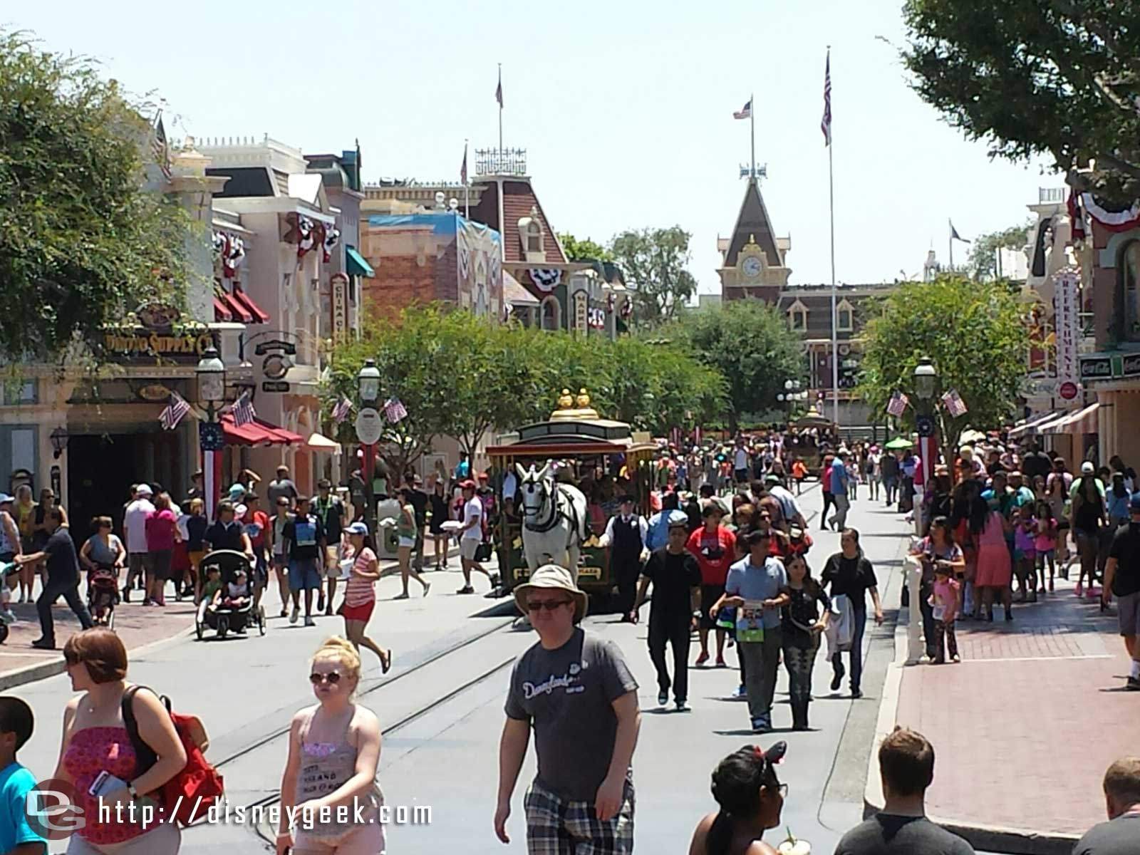 Main Street USA looking towards Town Square from the hub #Disneyland