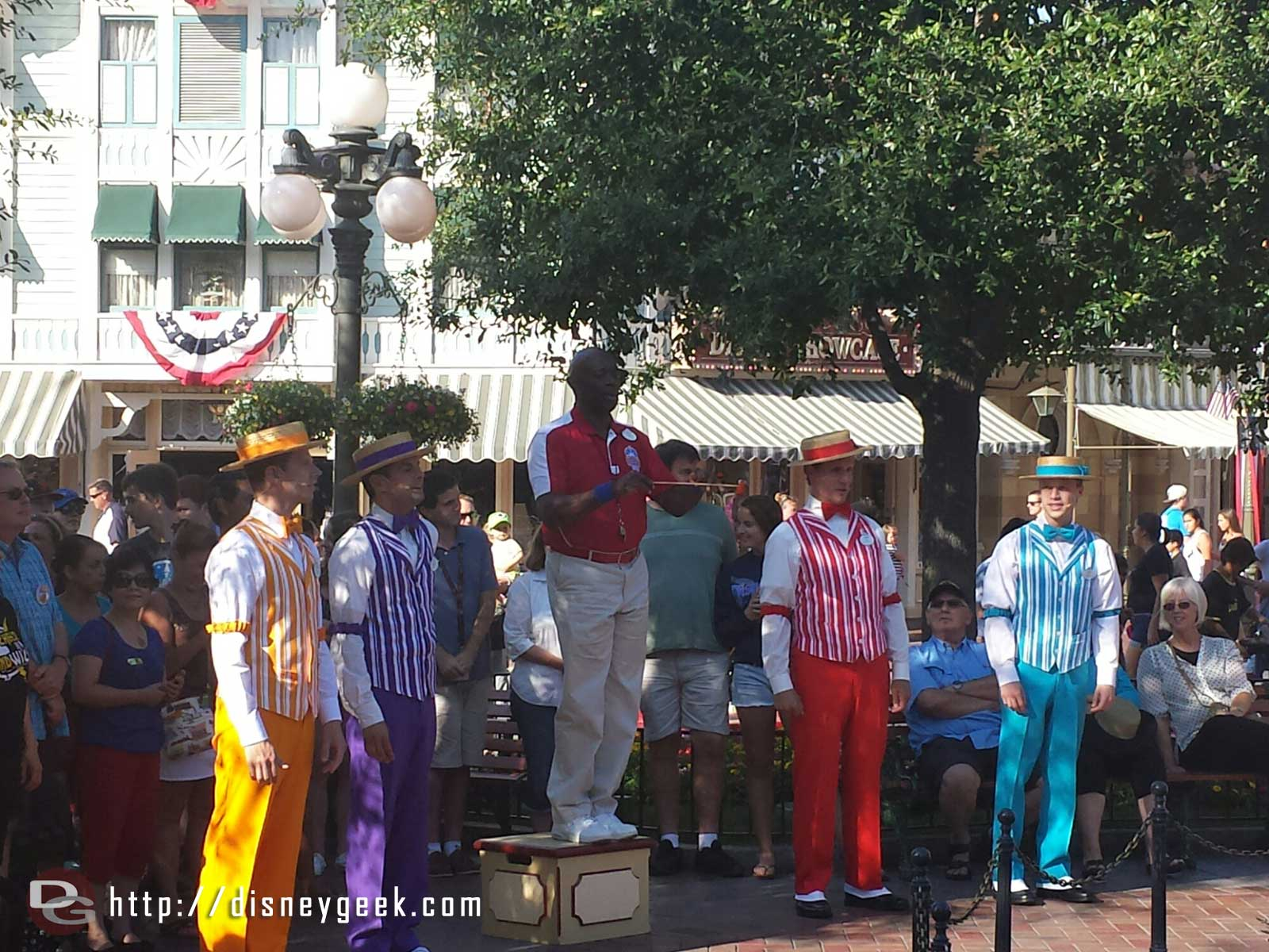The Dapper Dans of #Disneyland and Ron at the nightly Flag Retreat in Town Square