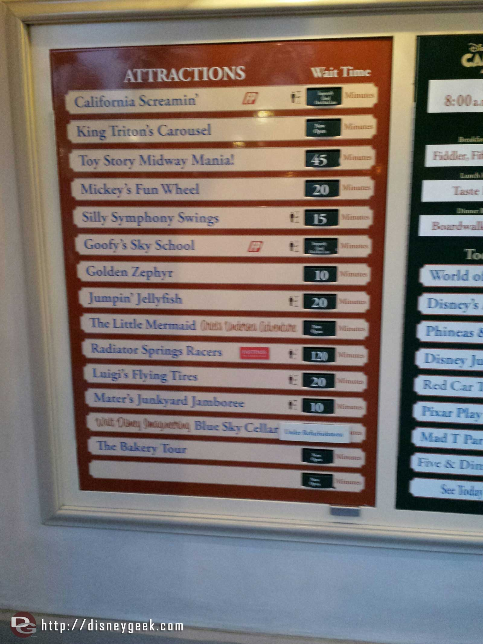 Some Disney California Adventure waits as of 7:59pm