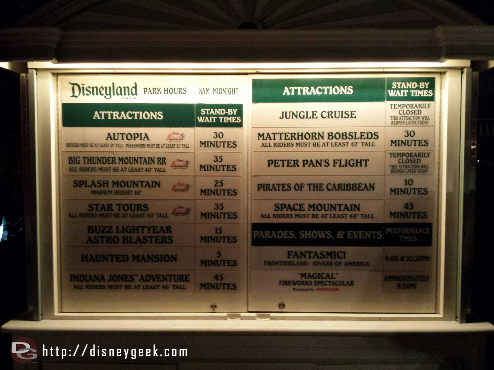 ##Disneyland wait times at 8:53pm