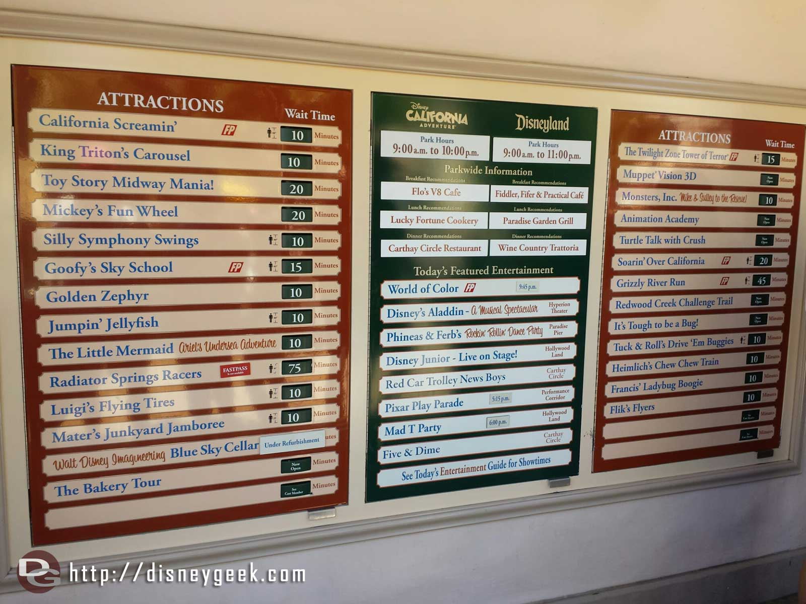 Disney California Adventure waits as of 1:39pm