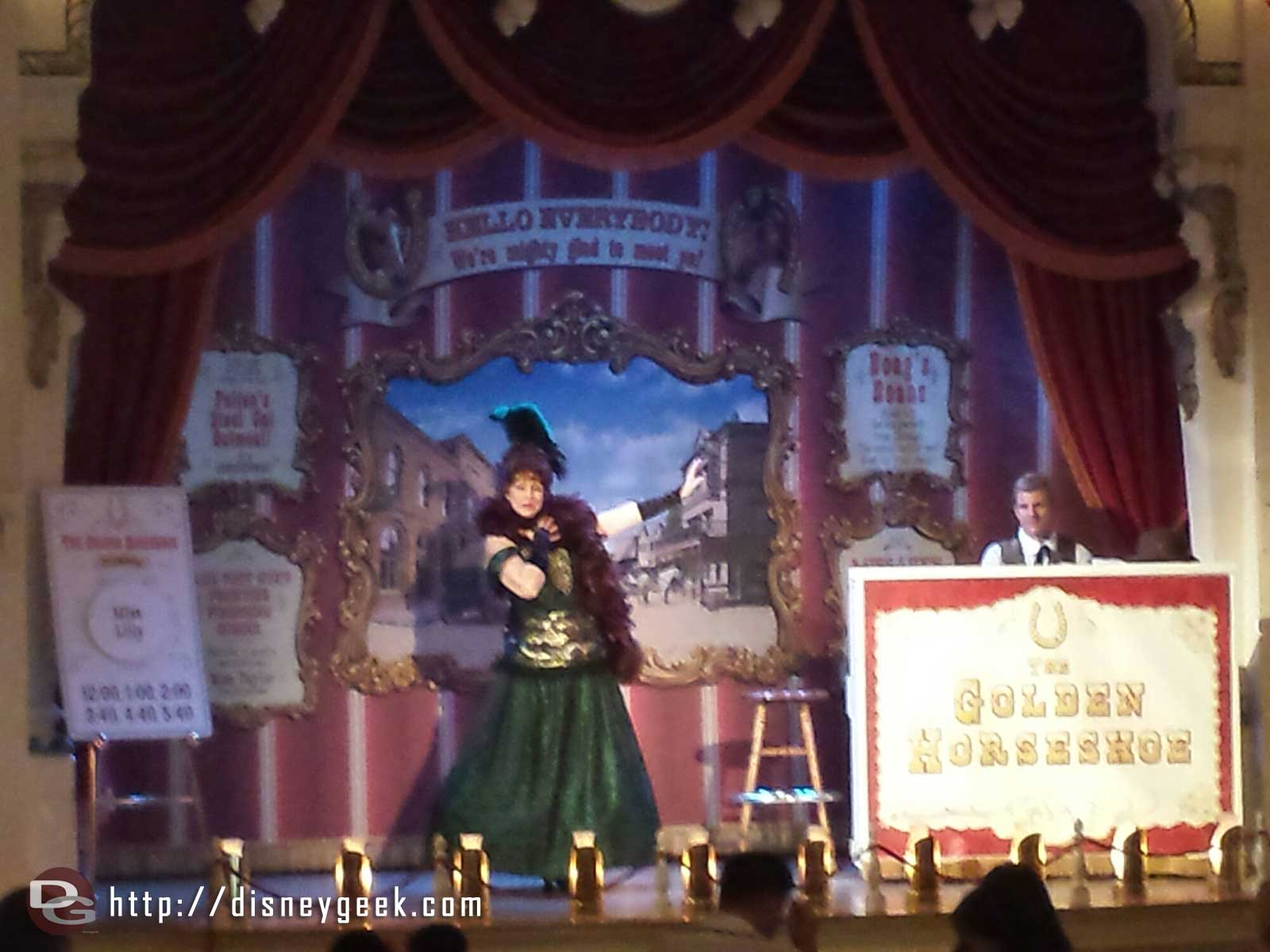 Miss Lilly entertaining guests in the Golden Horseshoe #Disneyland