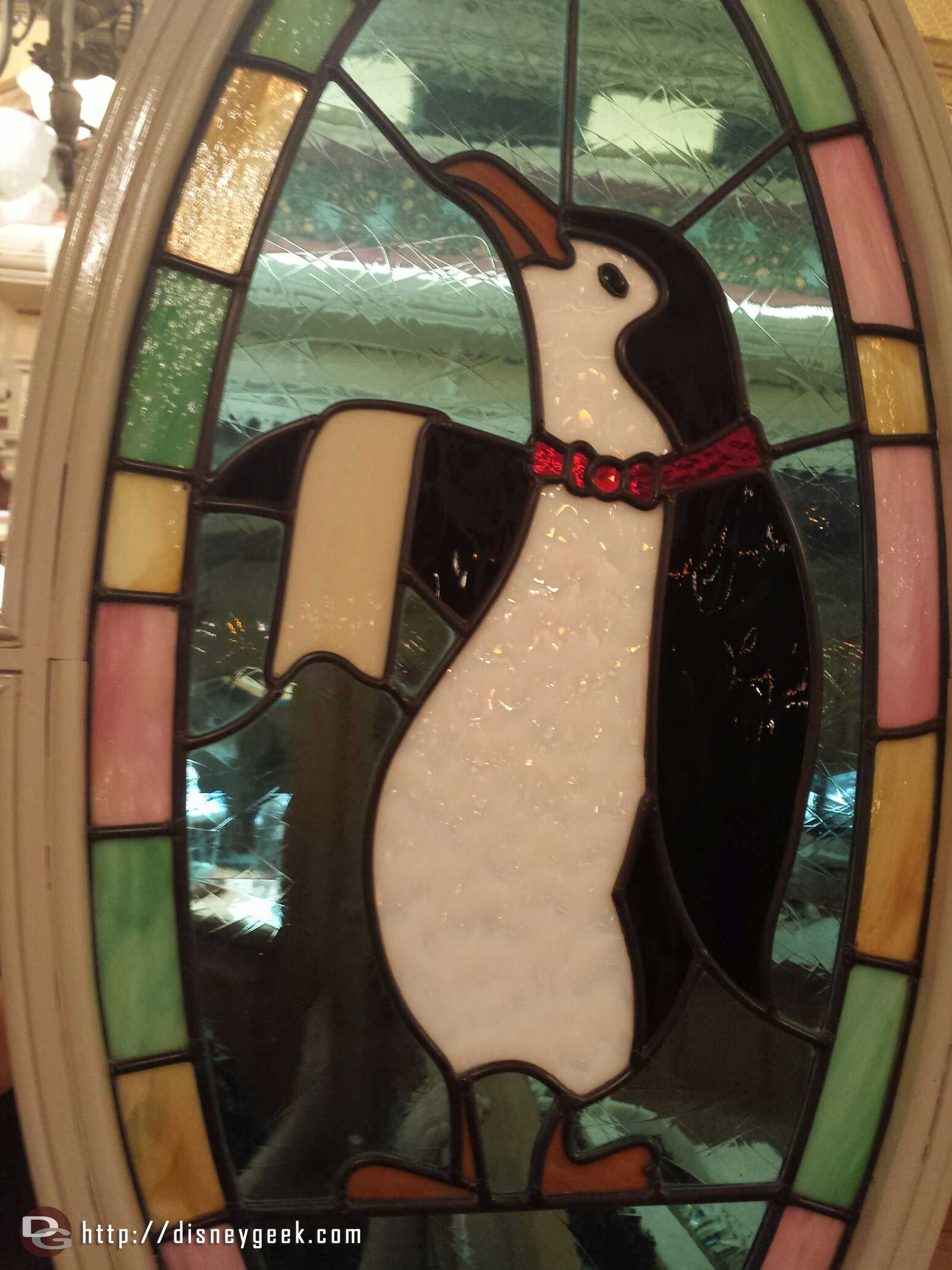 Jolly Holiday penguin stained glass window