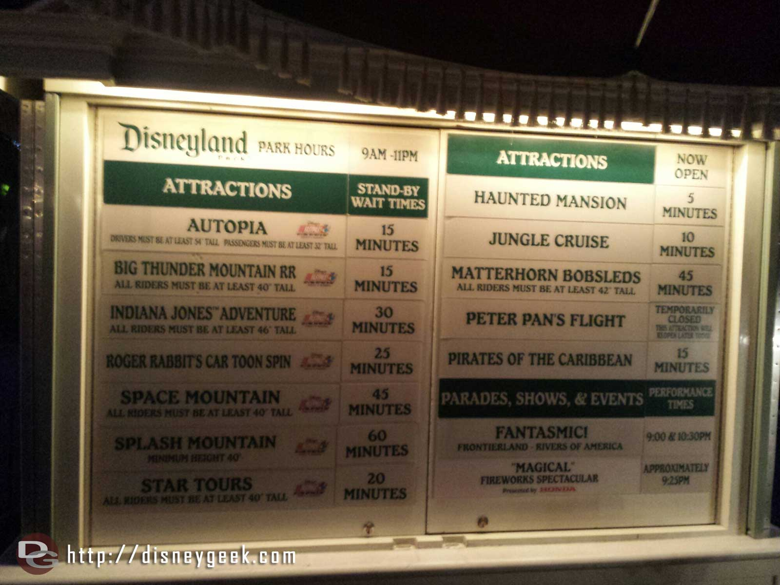 #Disneyland wait times at 8:00pm