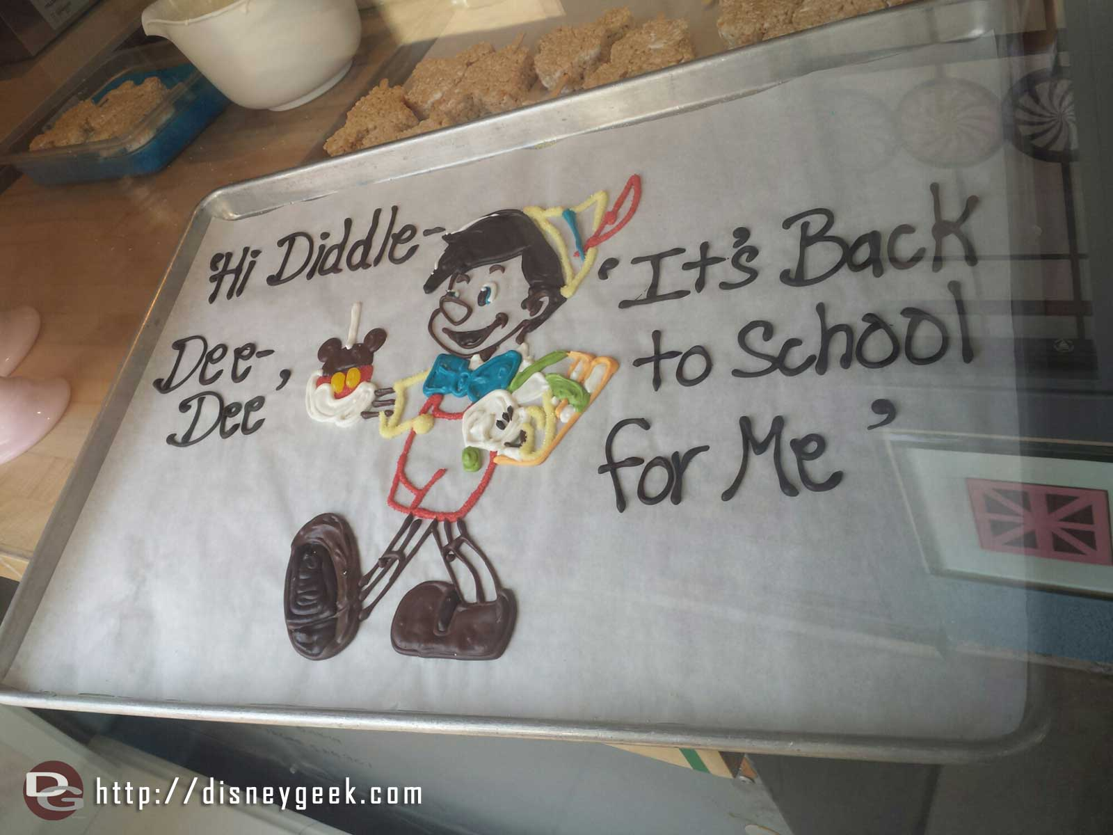 A back to school message in the Trolley Treats window on #BuenaVistaStreet