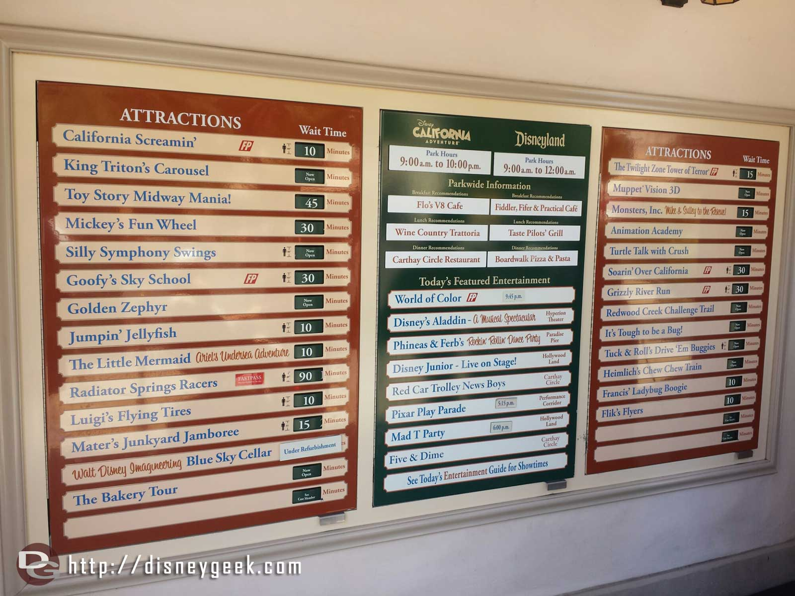 Disney California Adventure waits at 12:54pm