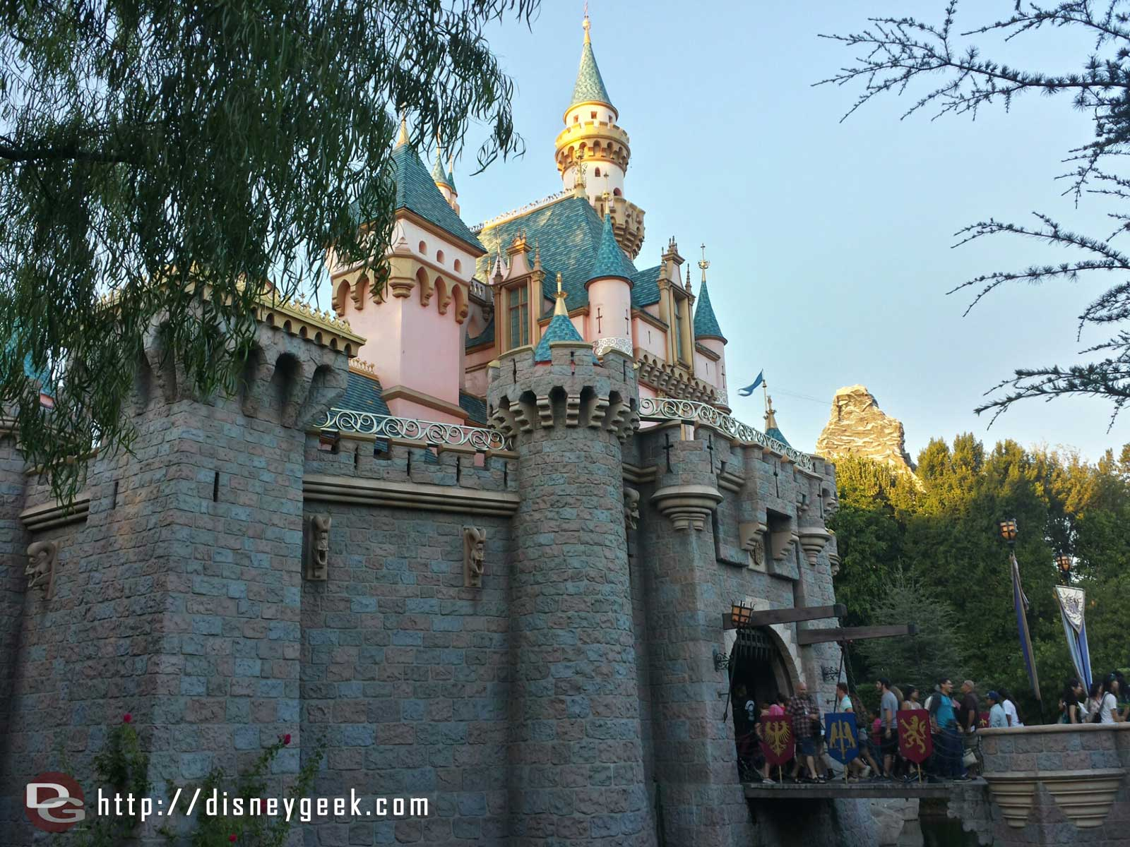 Sleeping Beauty Castle with the Matterhorn in the background #Disneyland