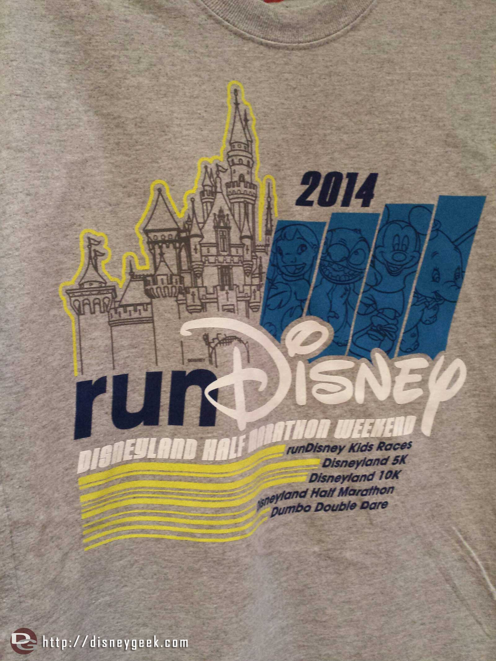 A runDisney shirt listing the races this #Disneyland half marathon weekend