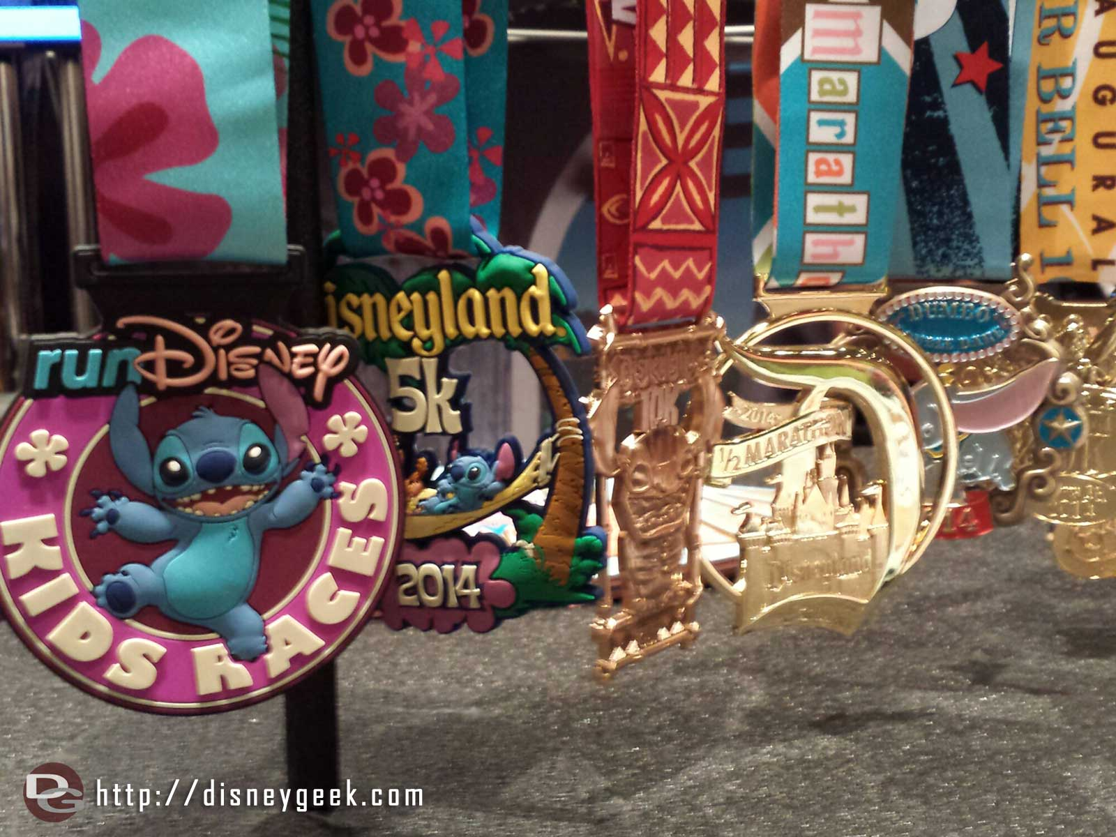 This weekends medals for the family, 5k, 10k, 1/2 marathon and double dare #runDisney