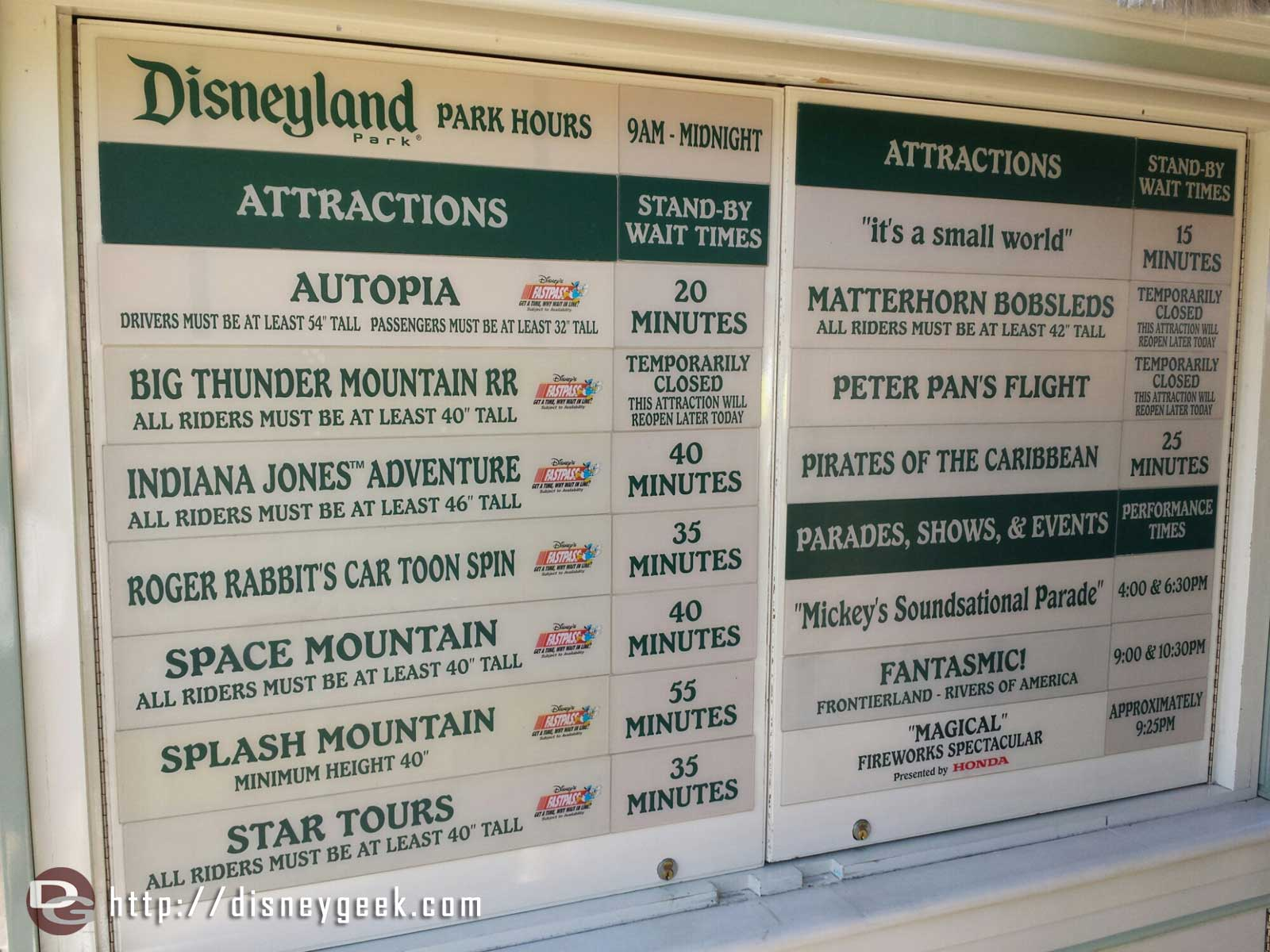 #Disneyland waits as of 4:20pm – Big Thunder, Matterhorn & Peter Pan temporarily closed