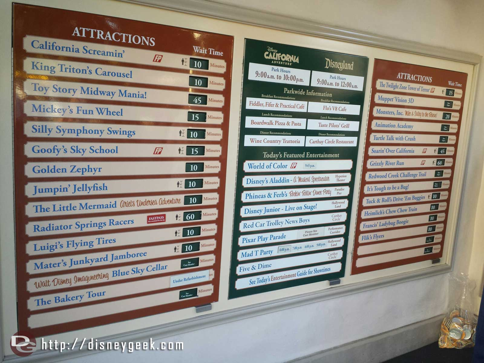 Disney California Adventure waits as of 4:42pm only 60 min for Radiator Springs Racers