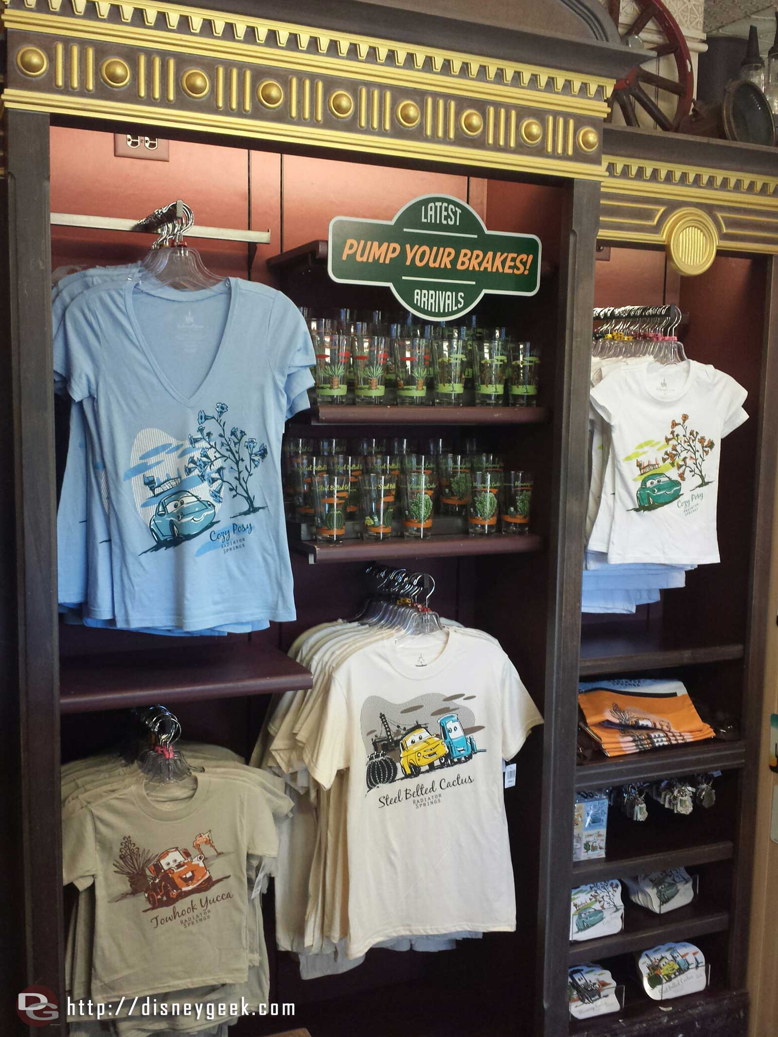 A selection of new merchandise in Radiator Springs Curios #CarsLand