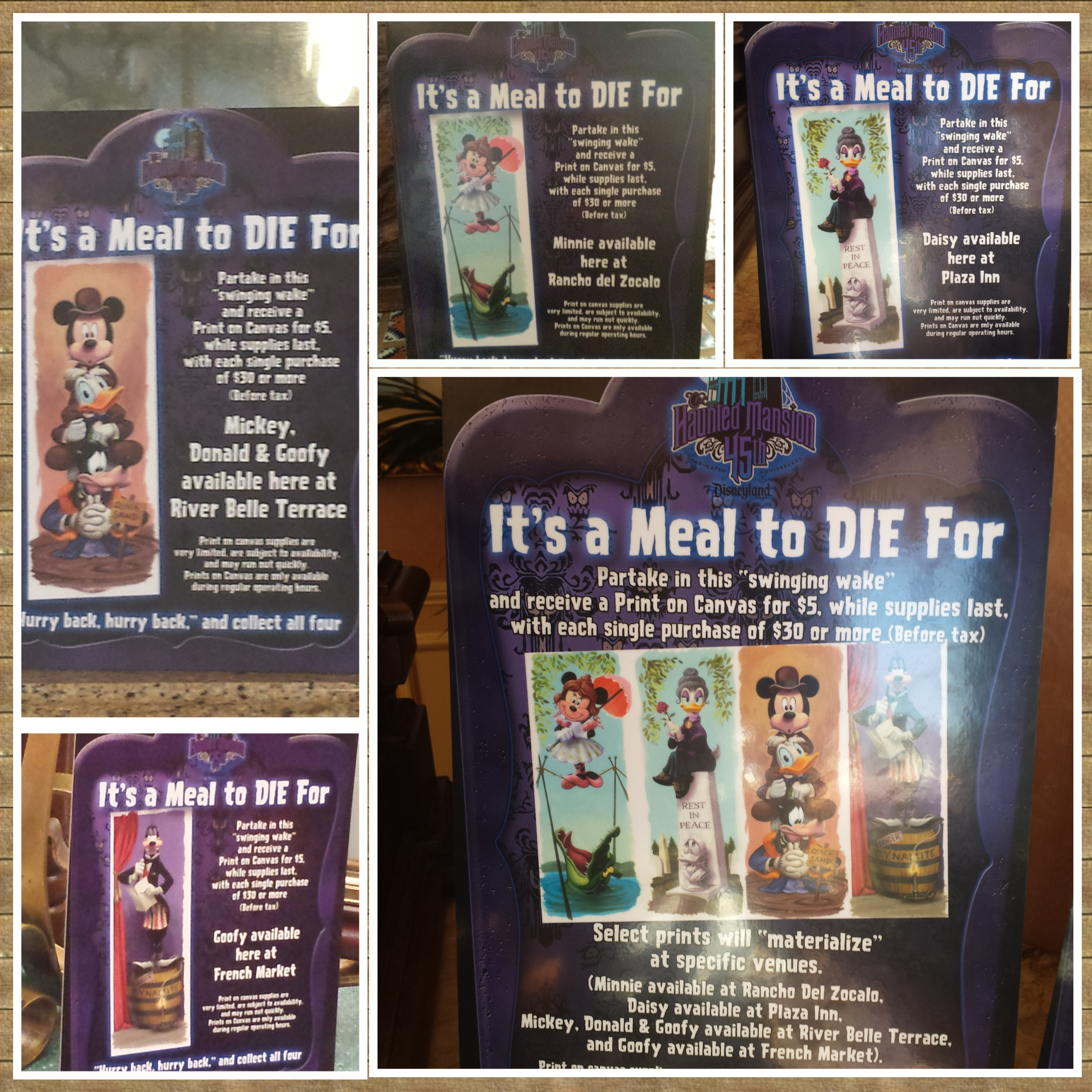 To celebrate the Haunted Mansion 45th anniversary there are four prints available with dining purchases one at each of 4 locations