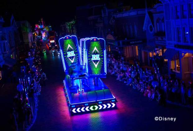 """Disney Paint the Night"" Monsters, Inc. Unit The Scare Floor in Monstropolis comes to crazy, vivid life as Mike and Sulley navigate an array of vibrant, twirling doors!"