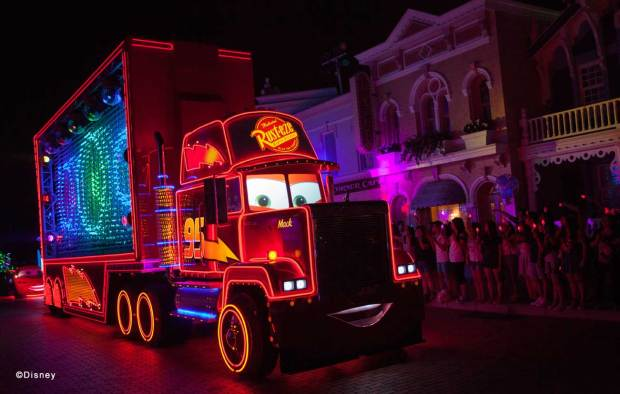 """Disney Paint the Night"" Cars Unit It is the very first time that Mack is featured in a parade. Mack float is over 54 feet long and 18 feet tall. Mack is driving along in a larger-than-life fashion, equipped with some very cool, giant ""light display"" panels affixed to his sides."