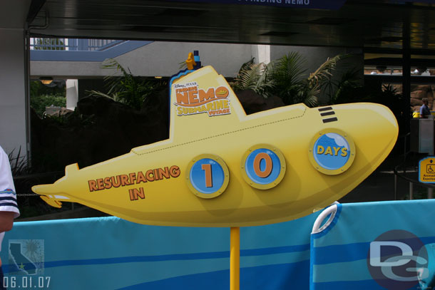 10 days until the subs return #Disneyland (this countdown from 2007)