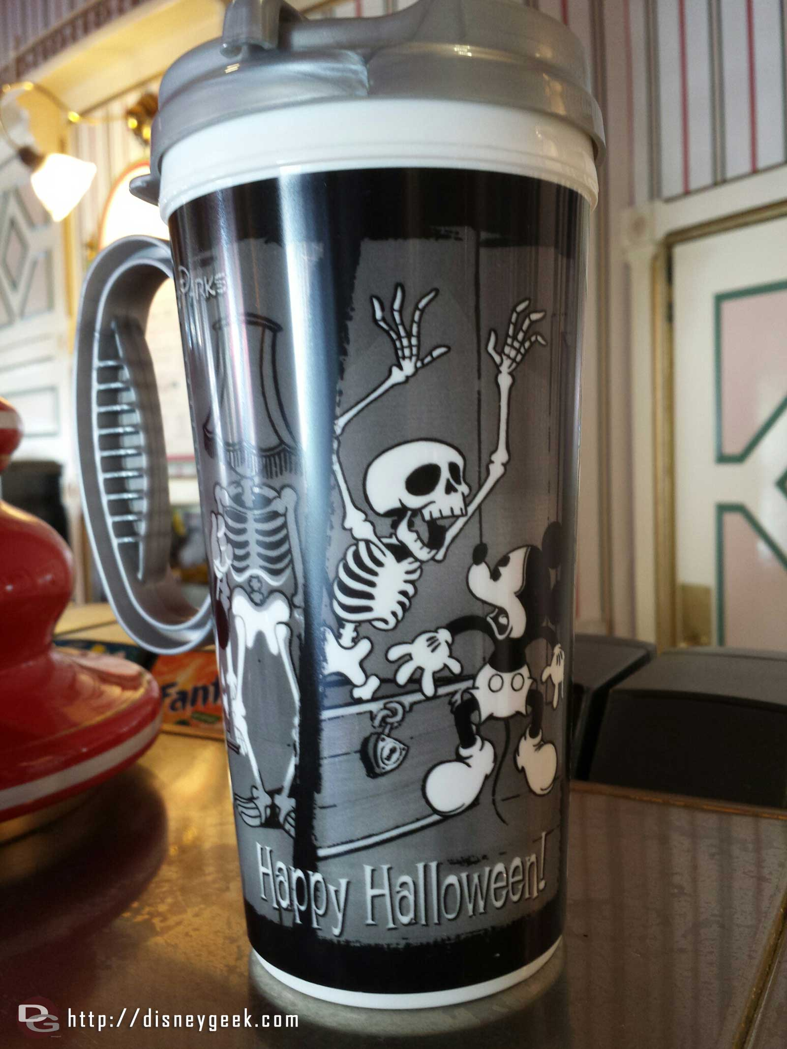 Halloween travel mug at Coke corner $6.29 including coffee or hot cocoa