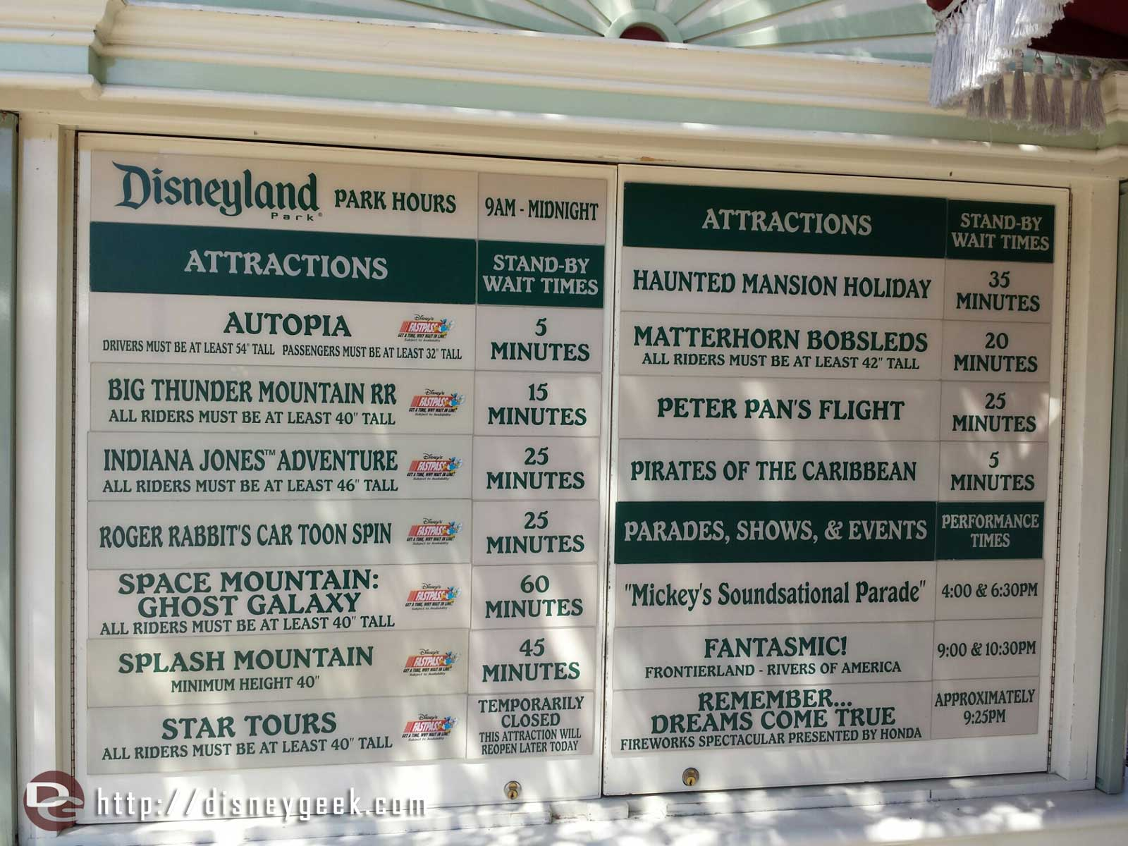#Disneyland waits as of 1:24pm
