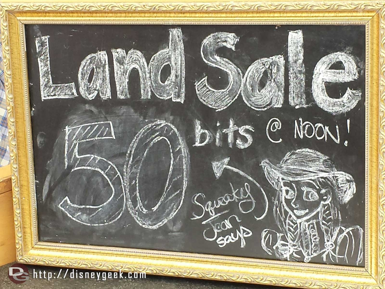Legends of Frontierland is having a sale, 50 bits for land
