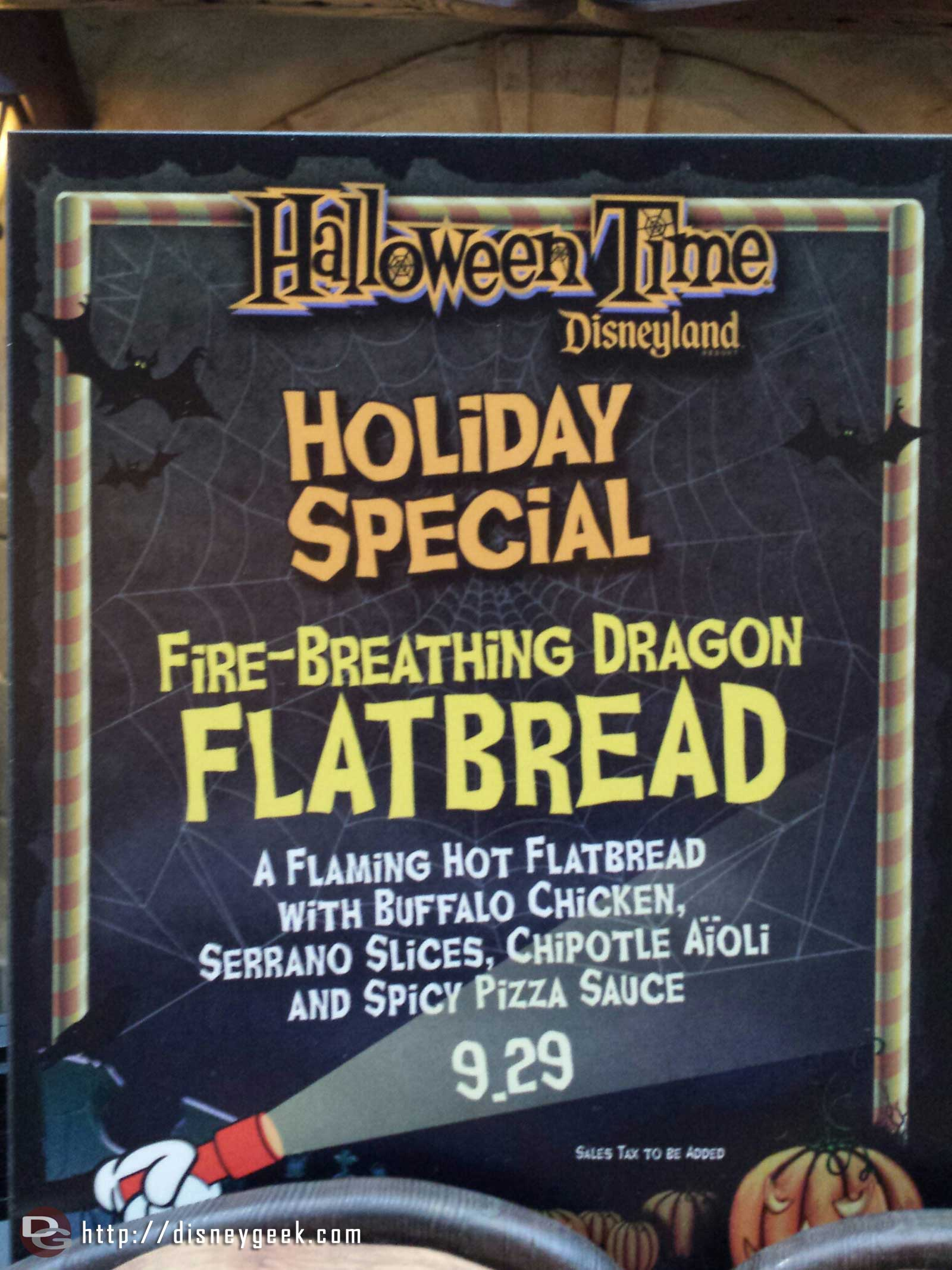The HalloweenTime offering at the Village Haus Fire-Breathing Dragon Flatbread (sign)