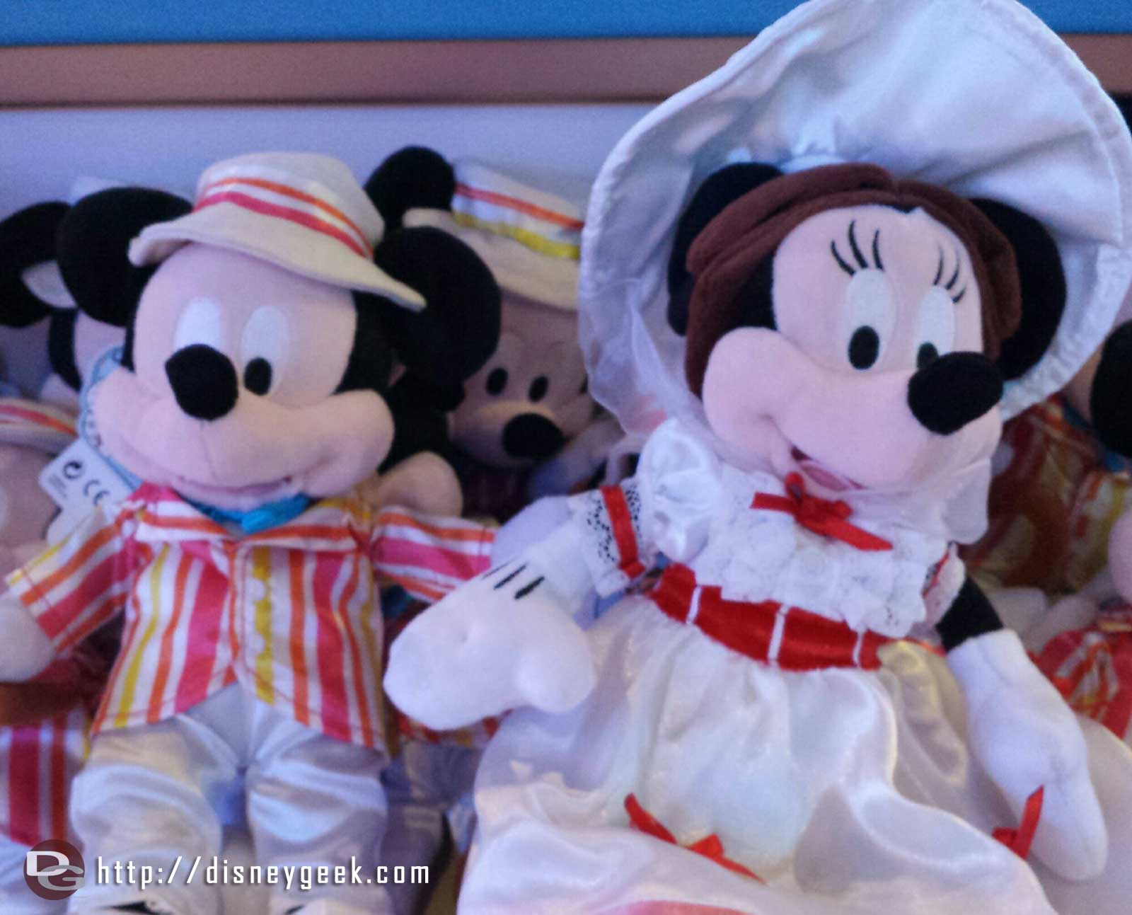 Mickey and Minnie as Bert & Mary Poppins, 50th anniversary plush
