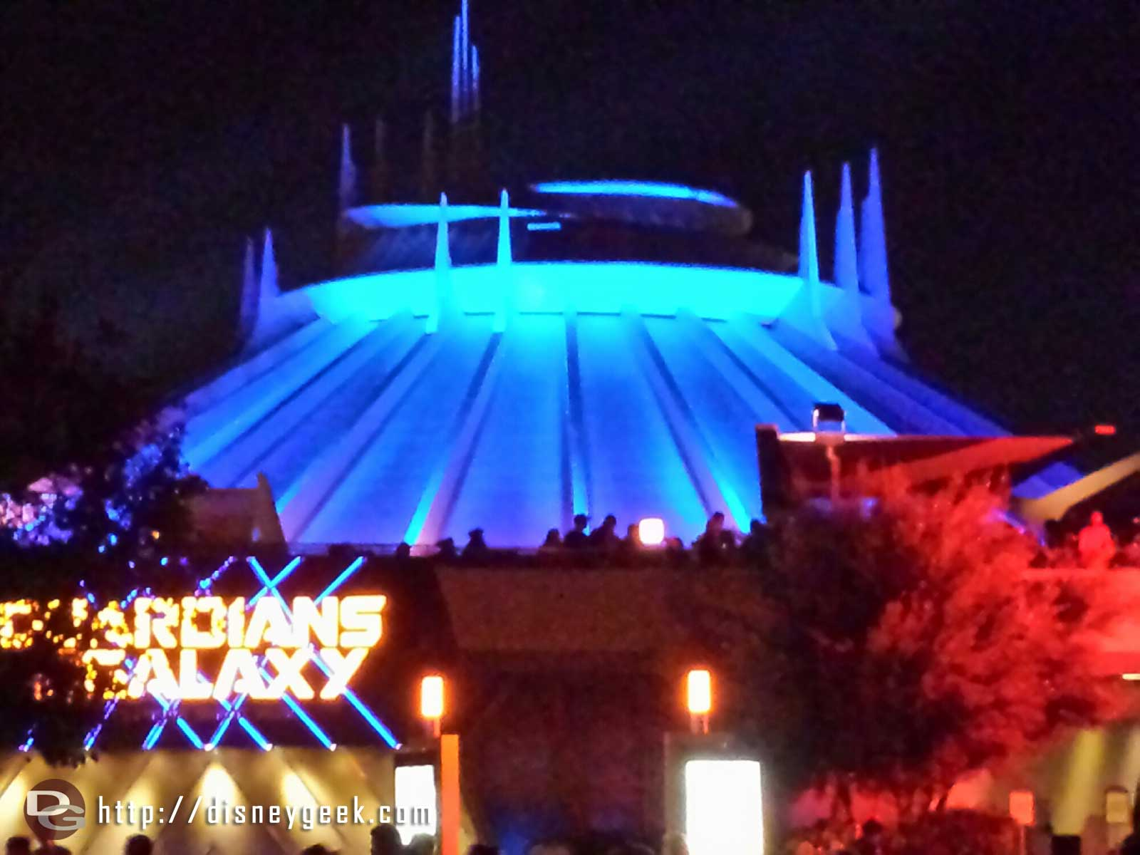 No projections or audio outside Ghost Galaxy right now.  Actually no background music at all in the area.
