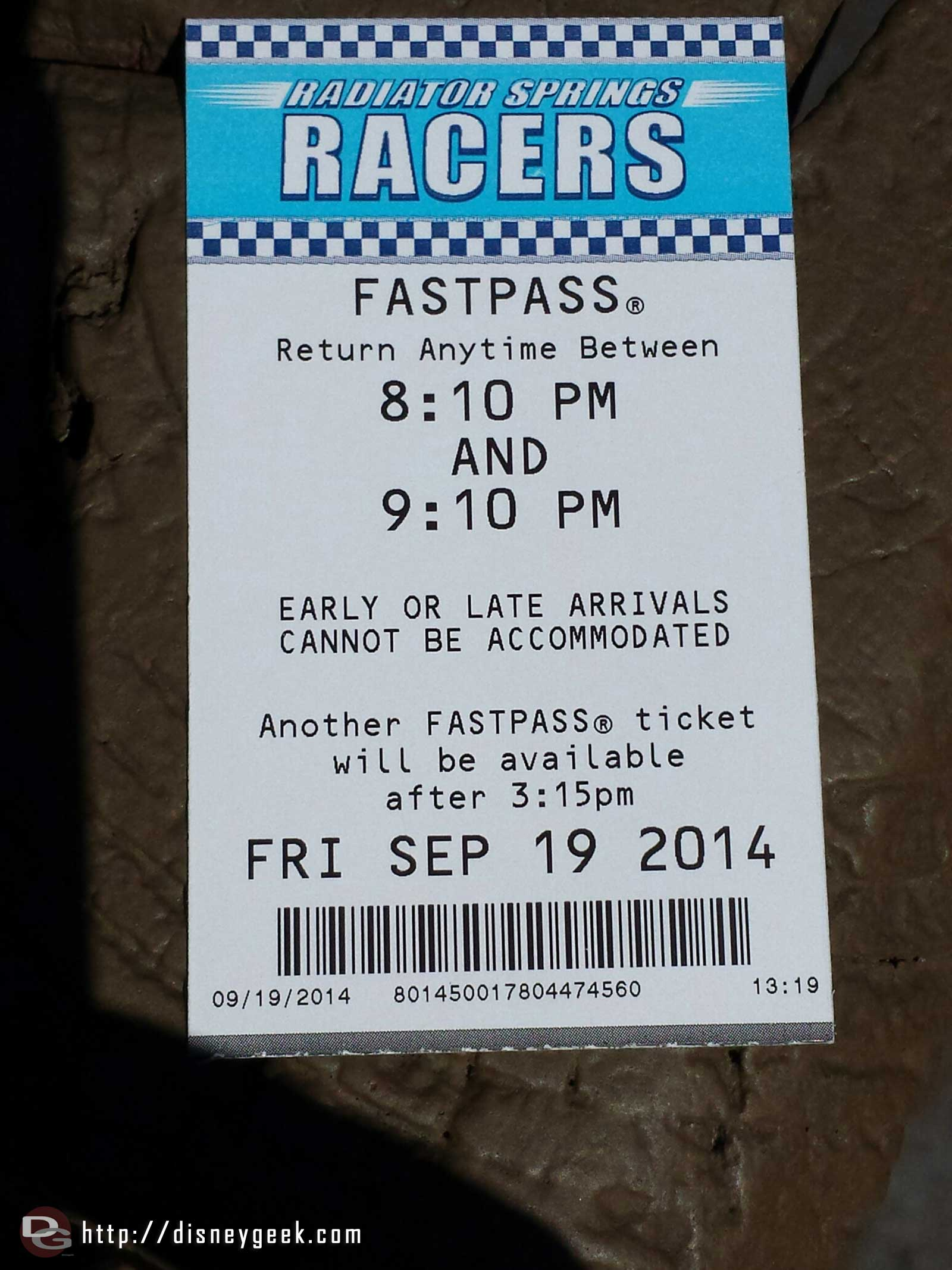 FastPasses still available for the Radiator Springs Racers cannot remember ever picking one up after noon