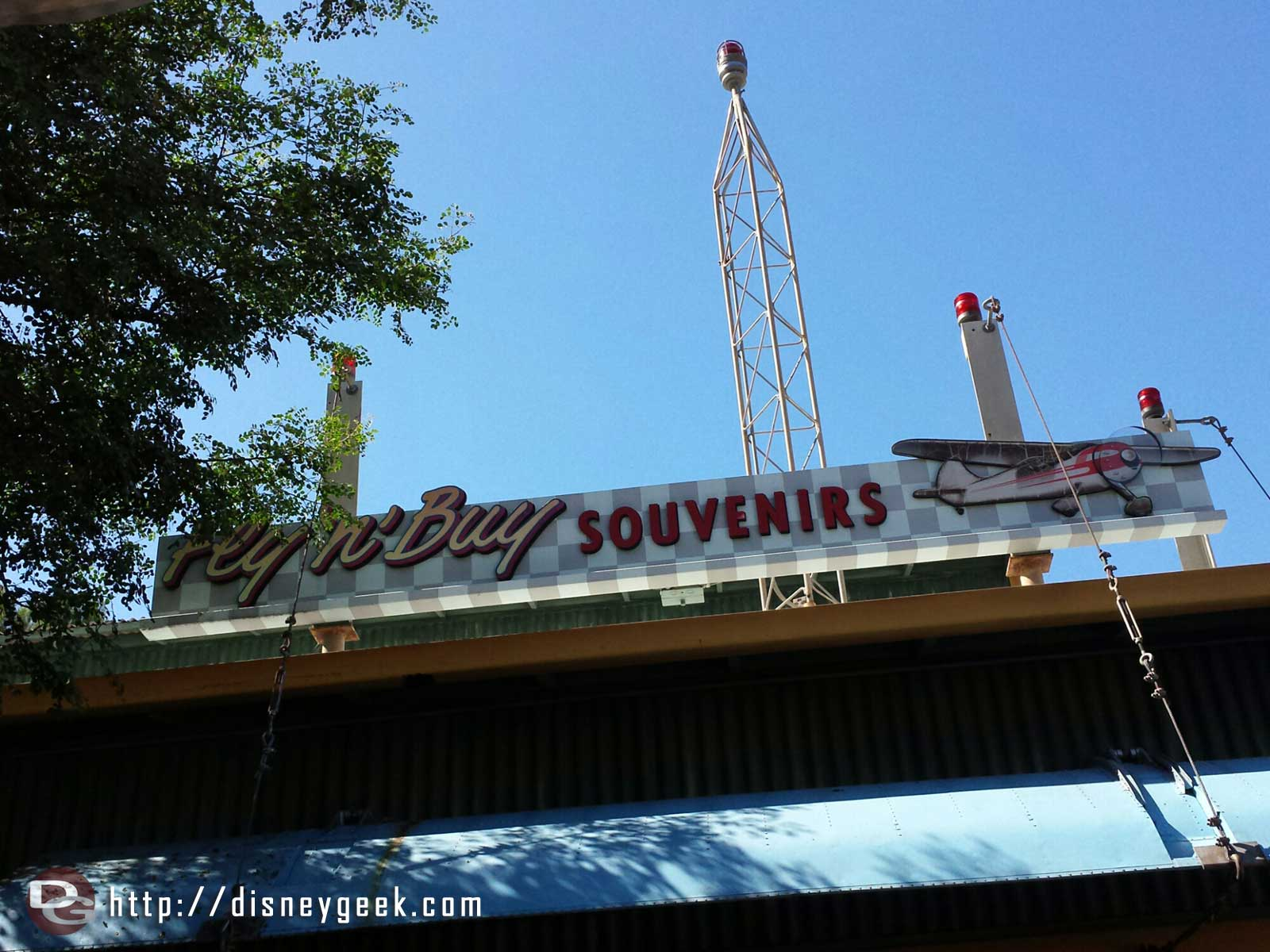 Fly n' Buy Souvenirs sign – Condor Flats – Disney California Adventure