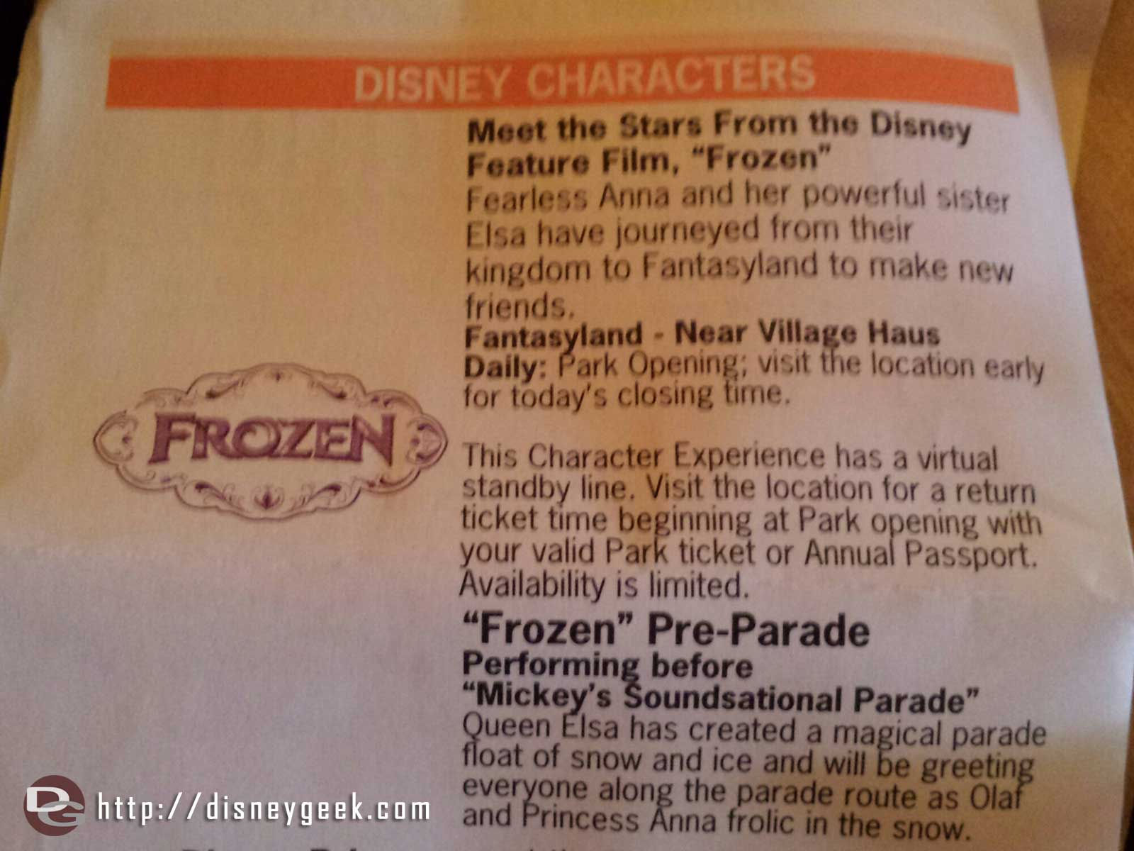 The #Frozen virtual standby line description in the timesguide this week #Disneyland