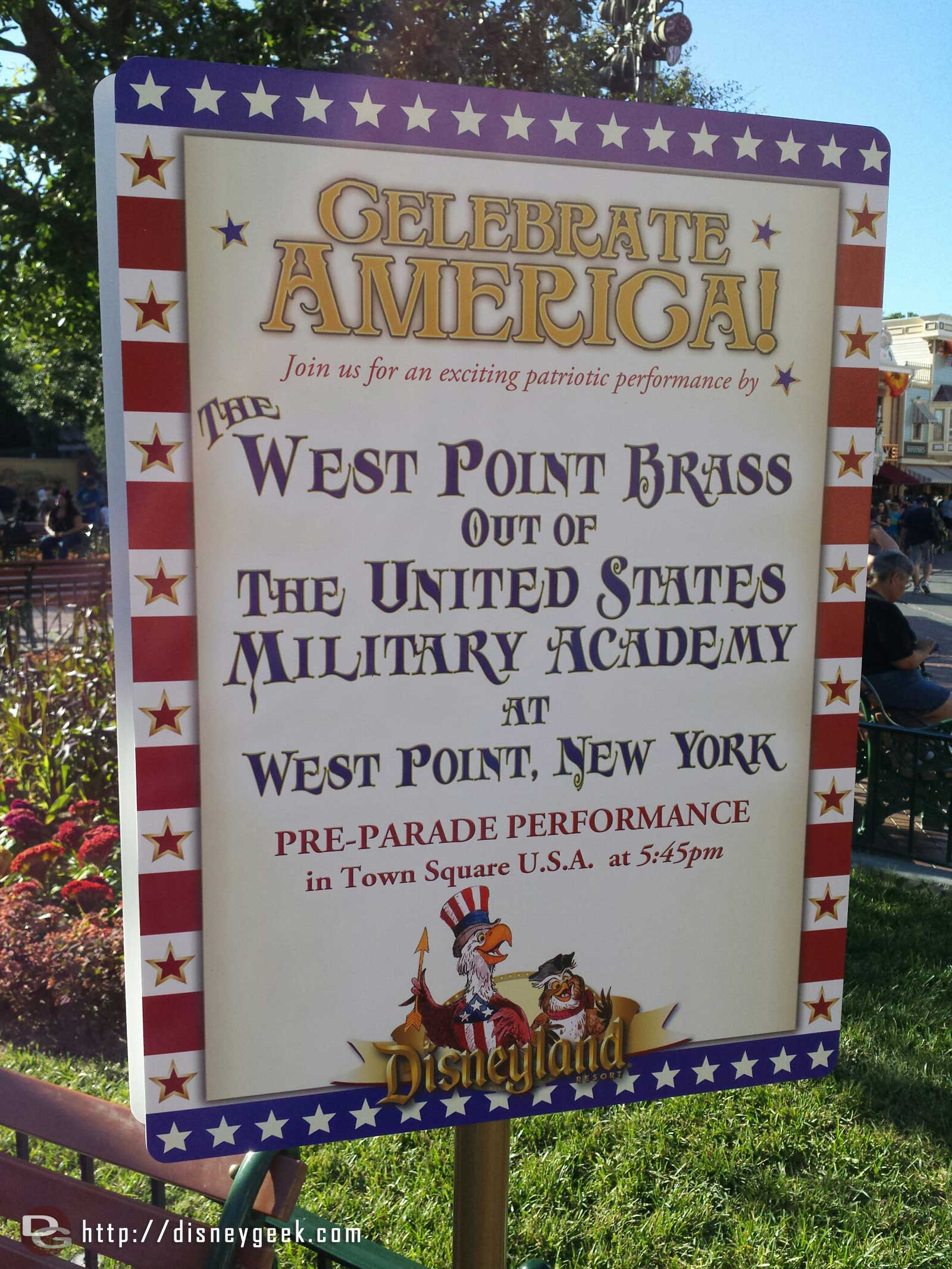 At 5:45pm a band from West Point will be performing in Town Square #Disneyland