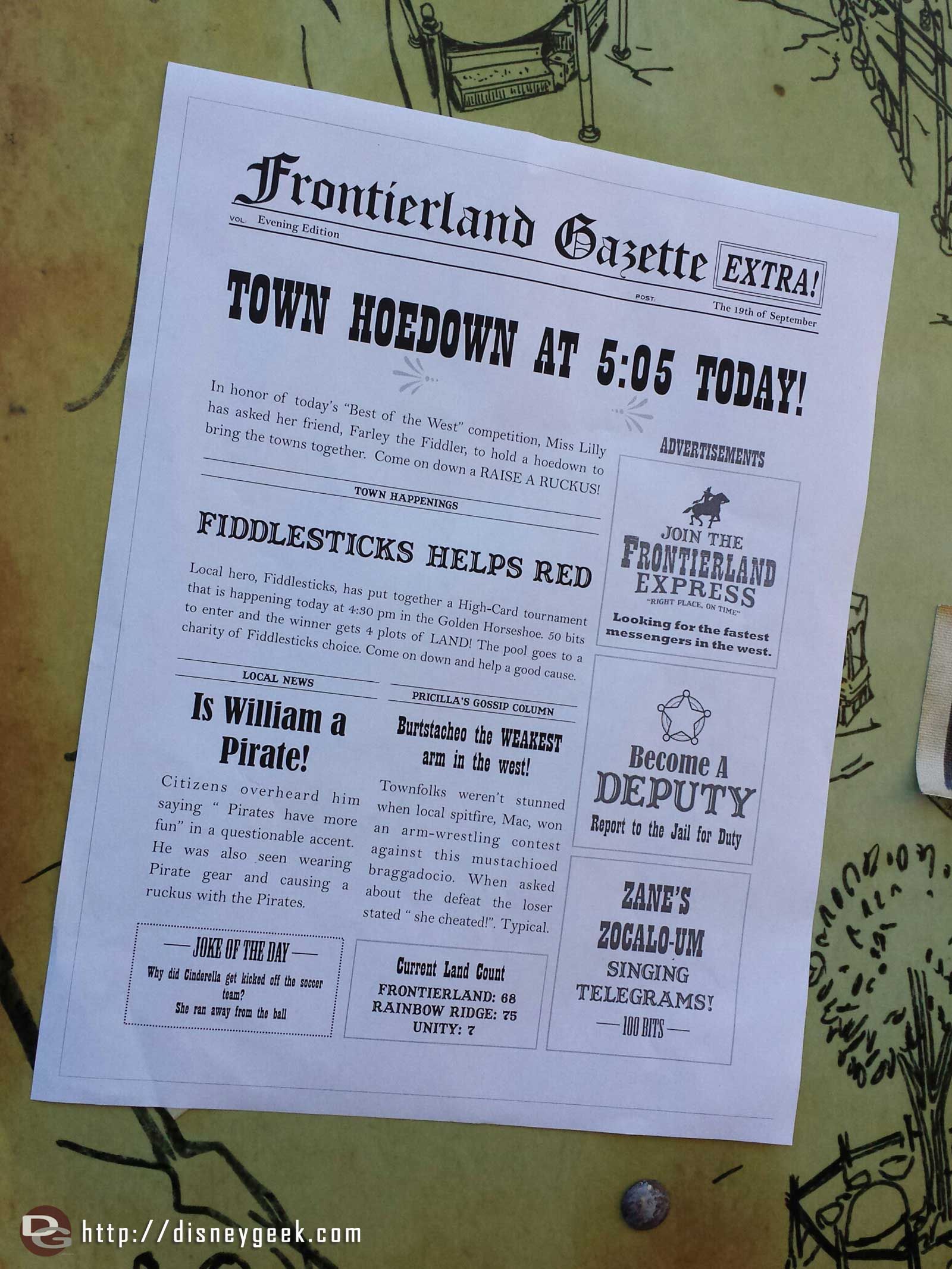 Frontierland Gazette posted around with some events Legends of Frontierland, note it was announced today it will run through the 27th