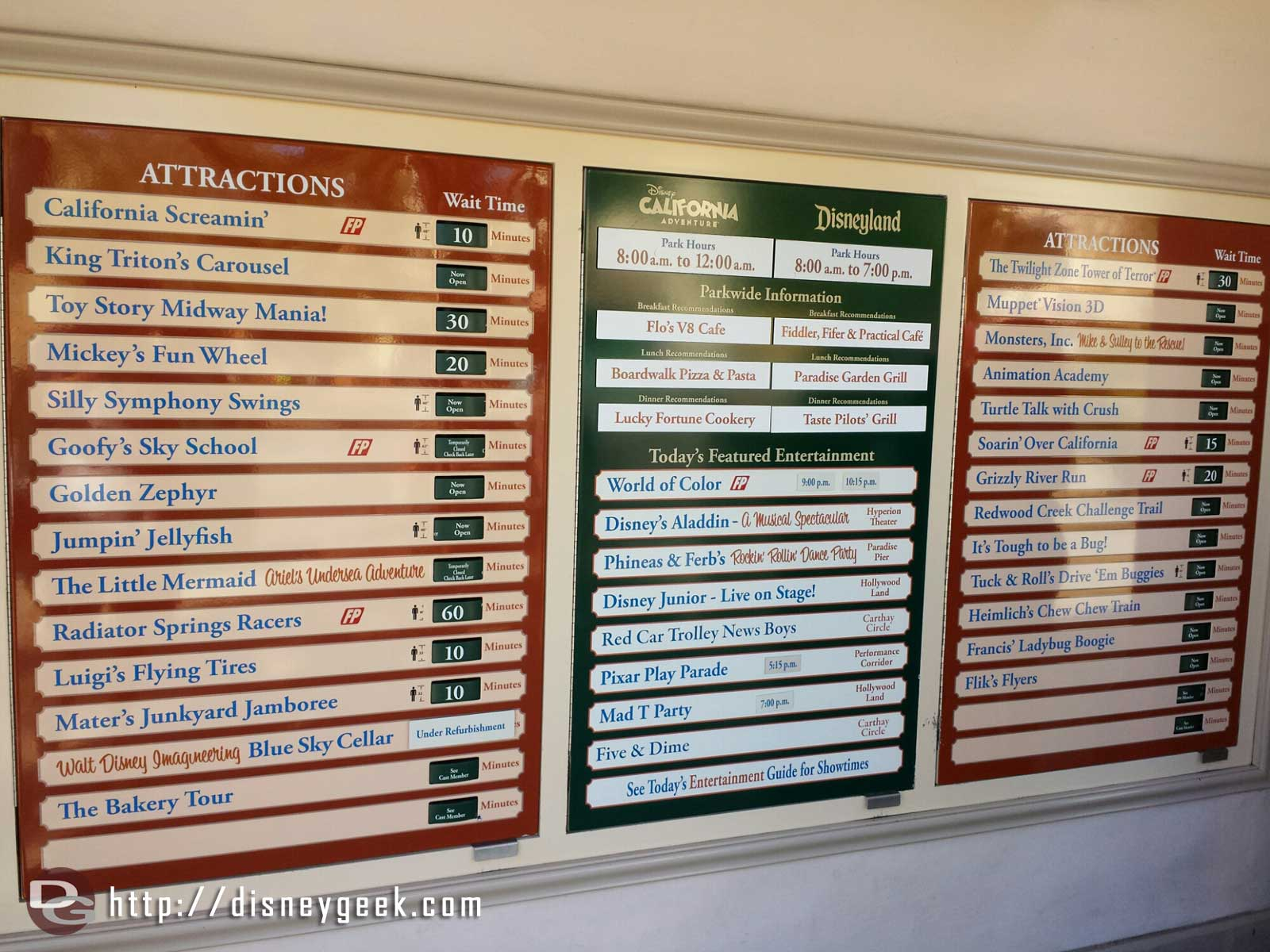 Current DCA wait times as of 11:22am