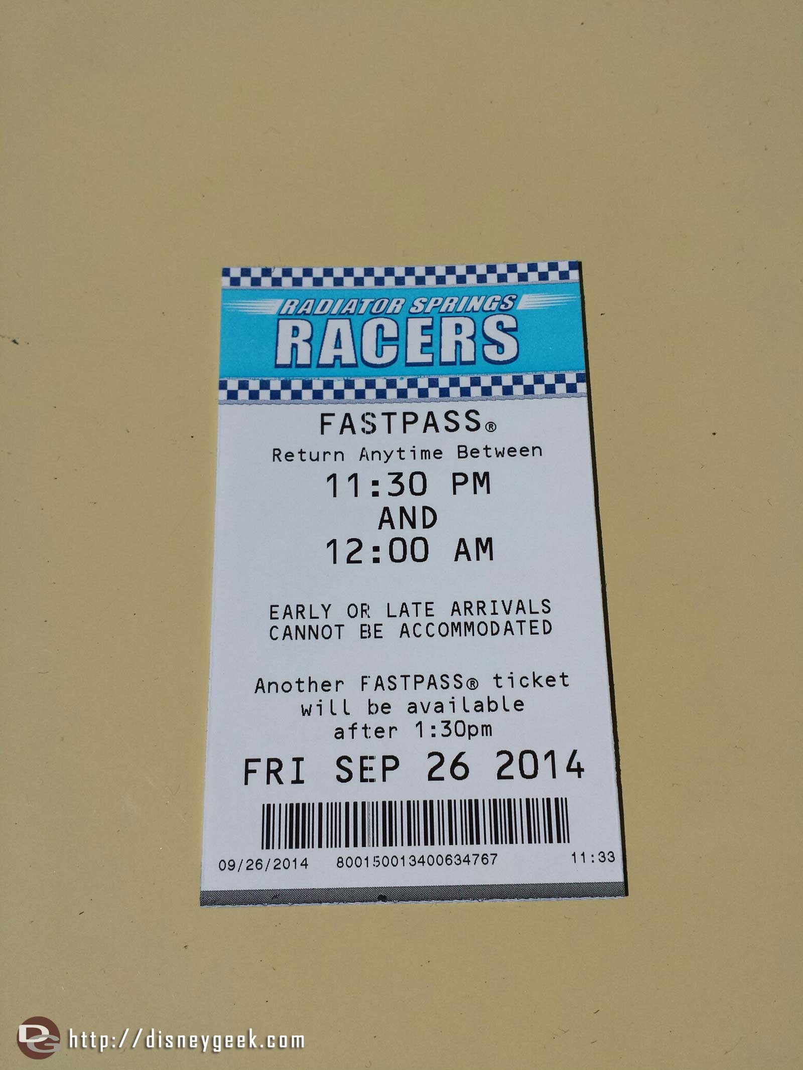 Not as good of a return time for the Racers this week #CarsLand