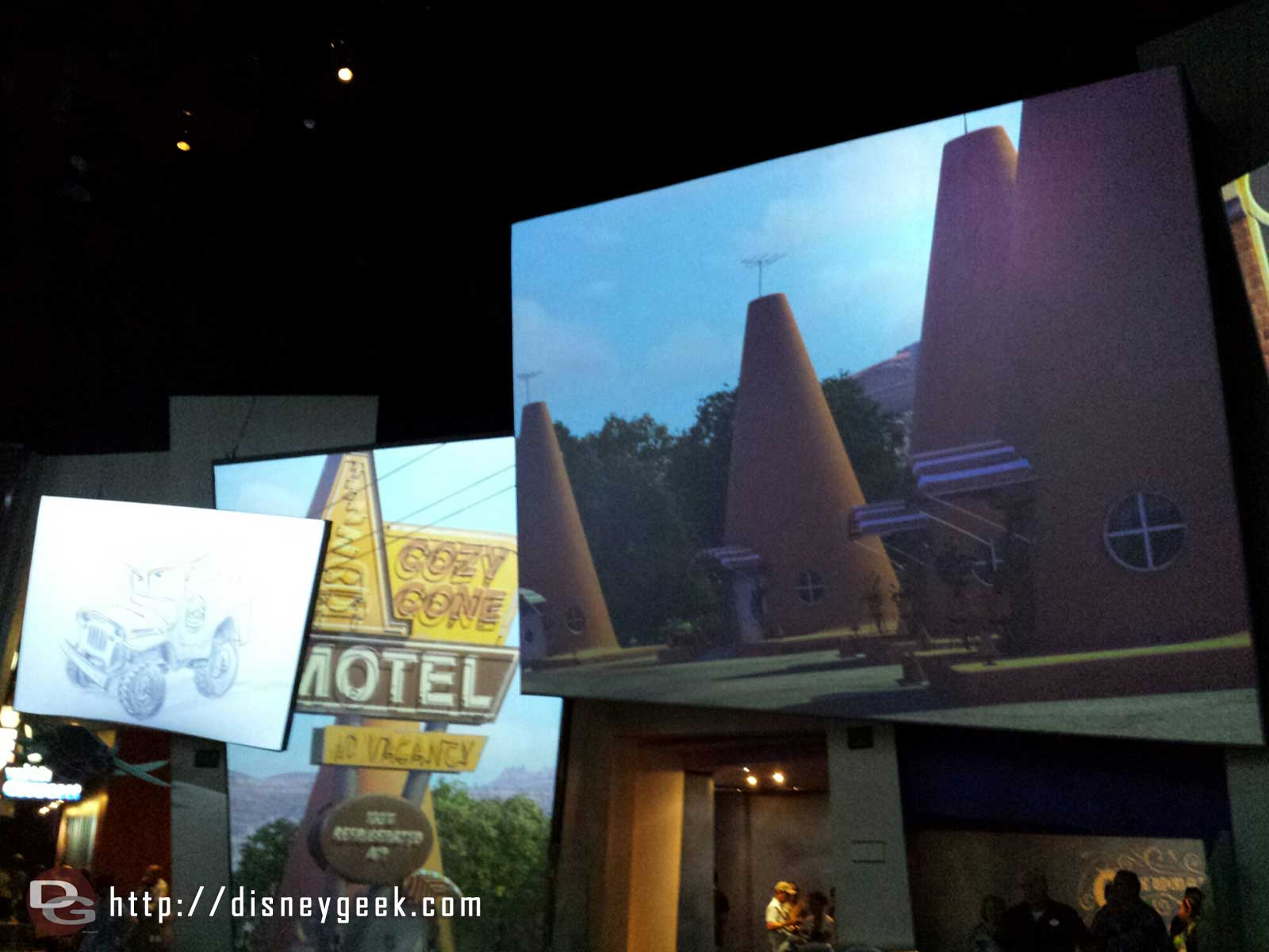The Animation building lobby – Cars on the screens #HollywoodLand