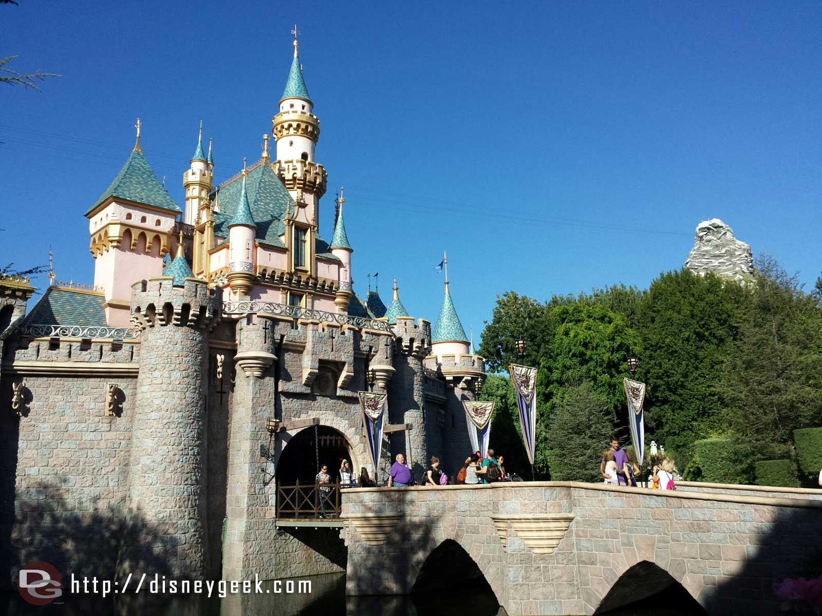 This view of Sleeping Beauty Castle will be changing with the railing being installed #Disneyland